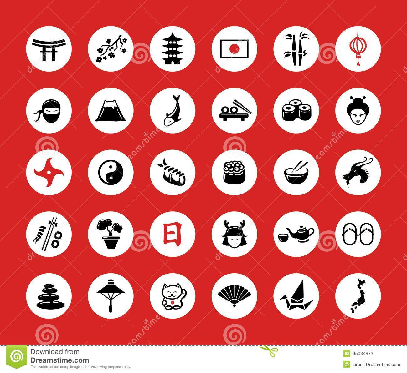 set of flat design japan travel icons and stock vector - image