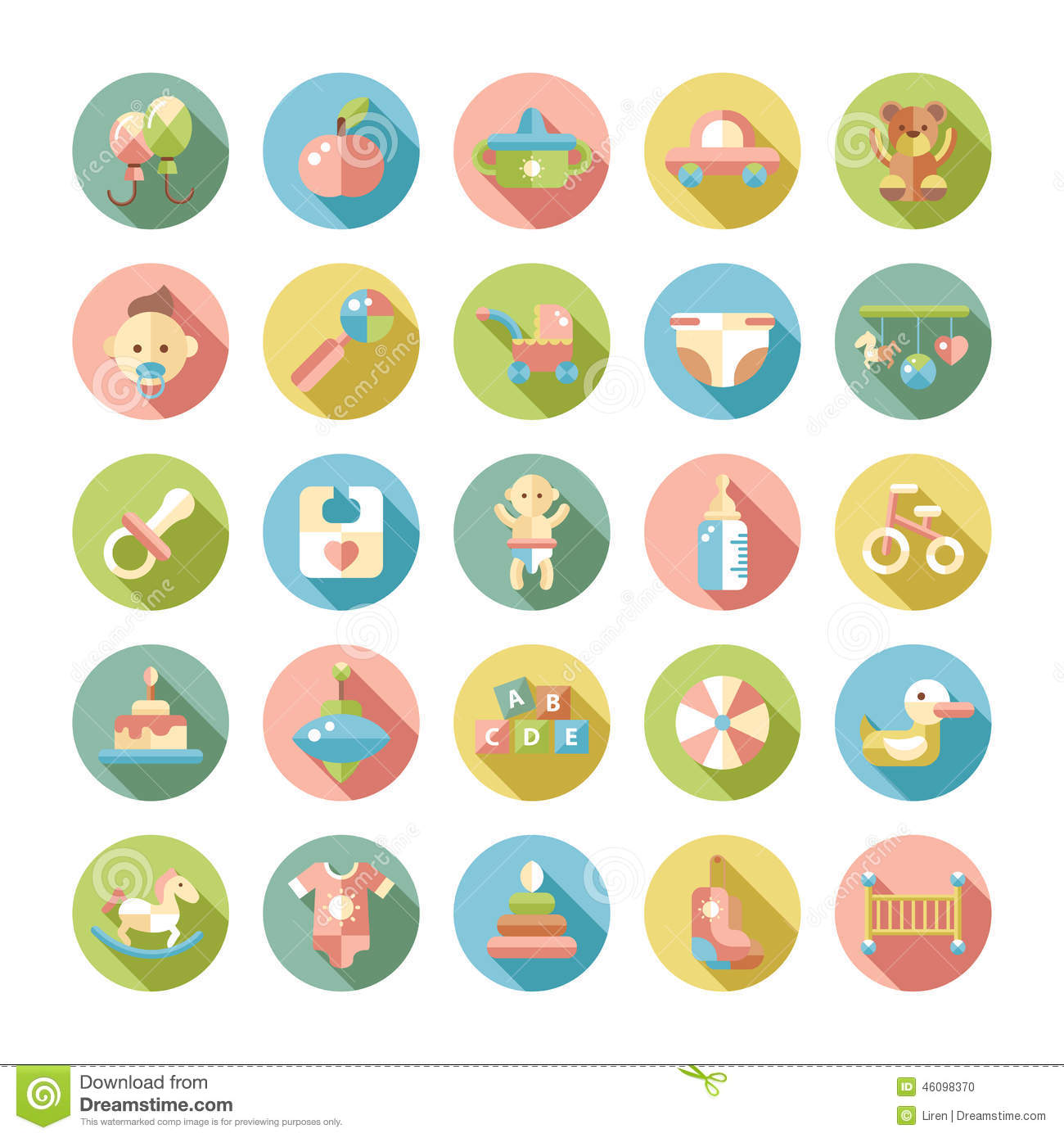 Set Flat Design Pastel Cute Baby Icons Vector