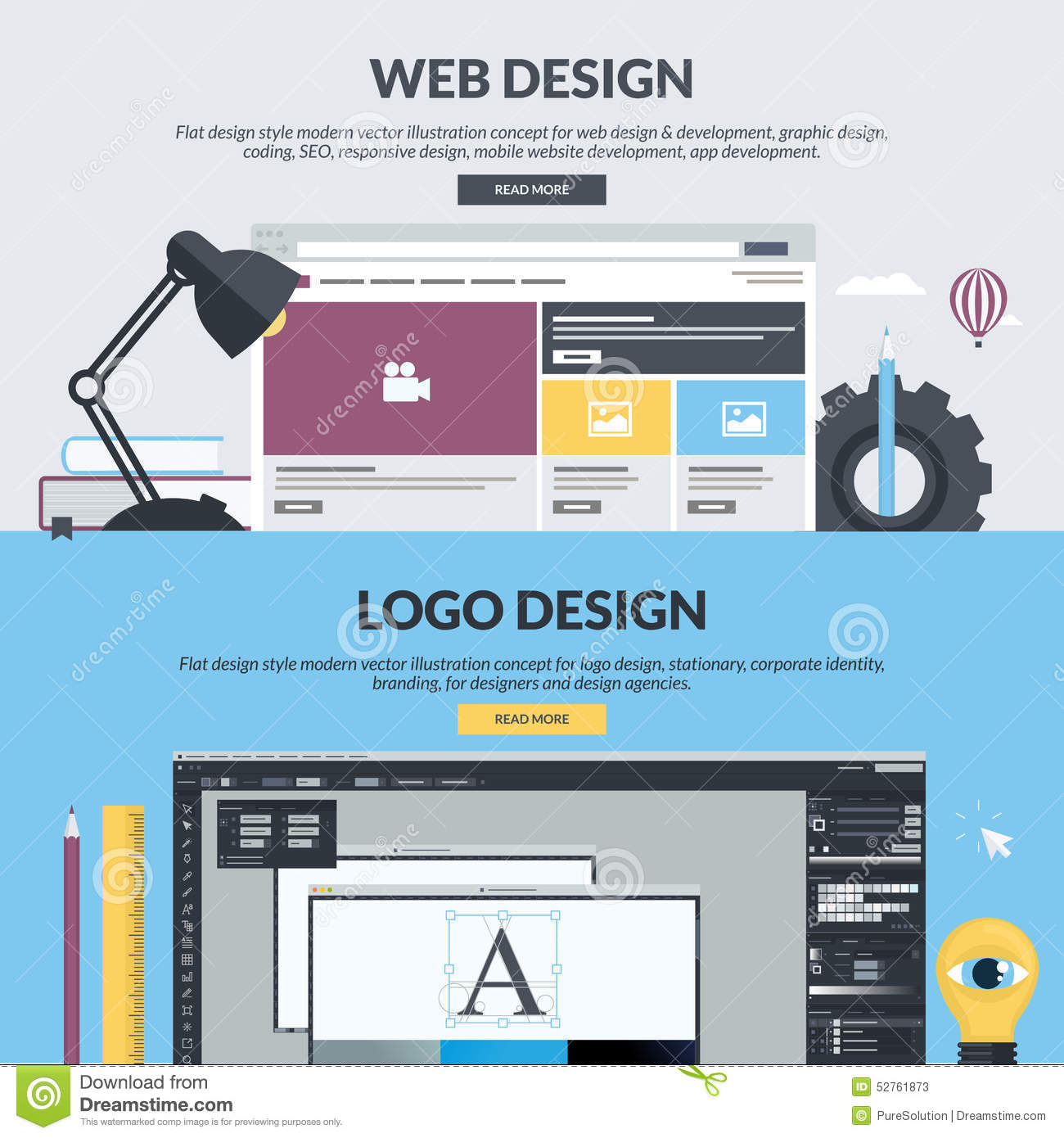 Set Of Flat Design Style Banners For Graphic And Web