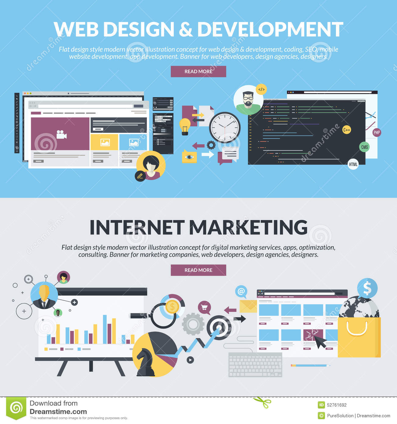 Set Of Flat Design Style Banners For Web Development And