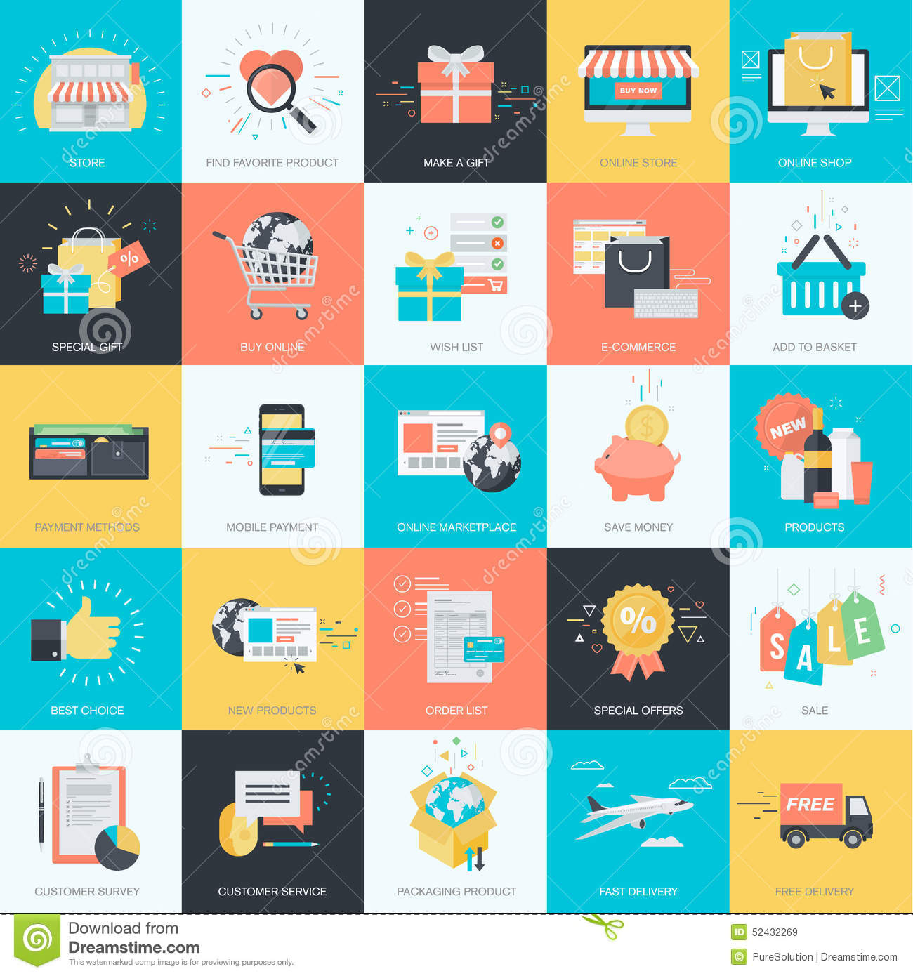 Set of flat design style icons for e commerce online for Design online shop