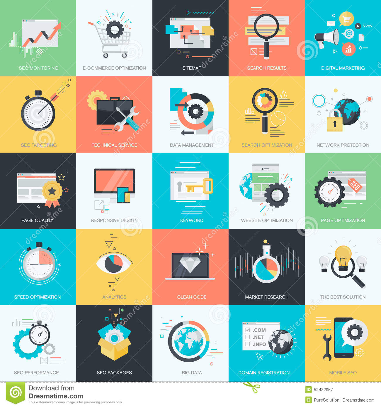 Design Style set of flat design style icons for seo, web development stock