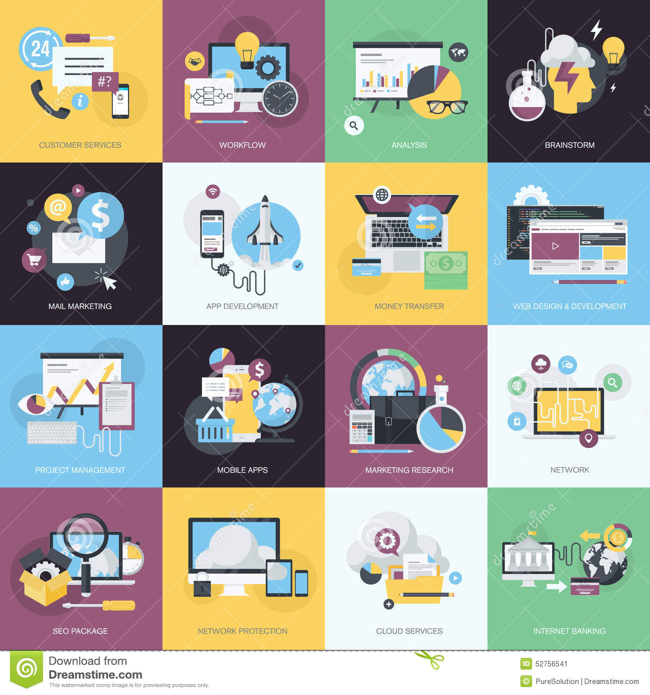Set of flat design style icons for website and app development e set of flat design style icons for website and app development e commerce altavistaventures Images