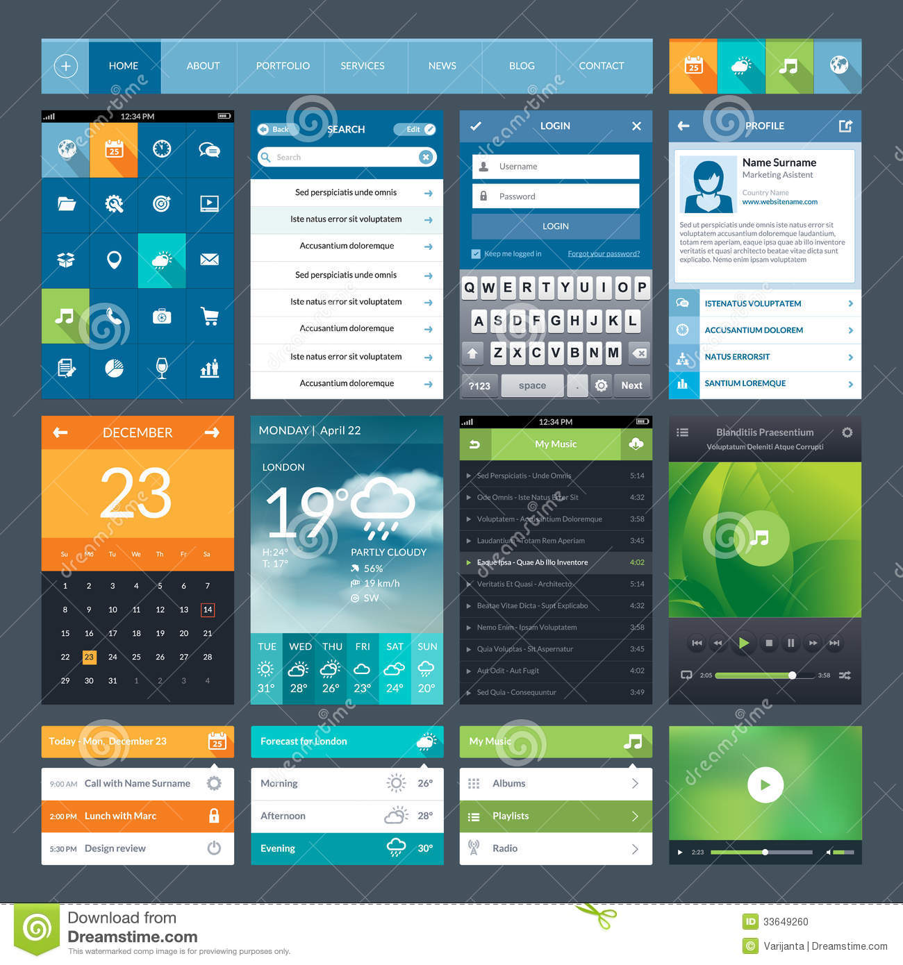 Set Of Flat Design Ui Elements For Mobile App And Stock Vector