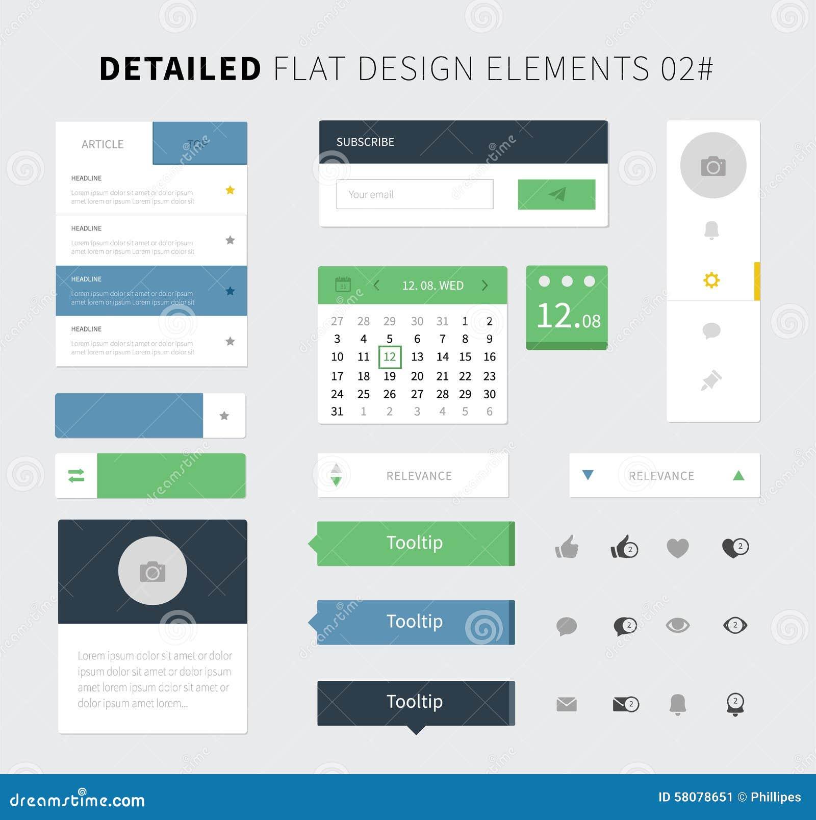 Calendar Website Design : Set of flat design ui kit for webdesign stock vector