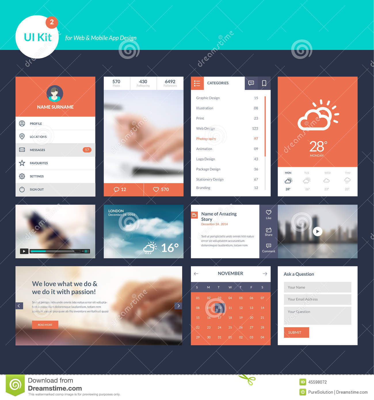 Set of flat design ui and ux elements for web and app for App design online