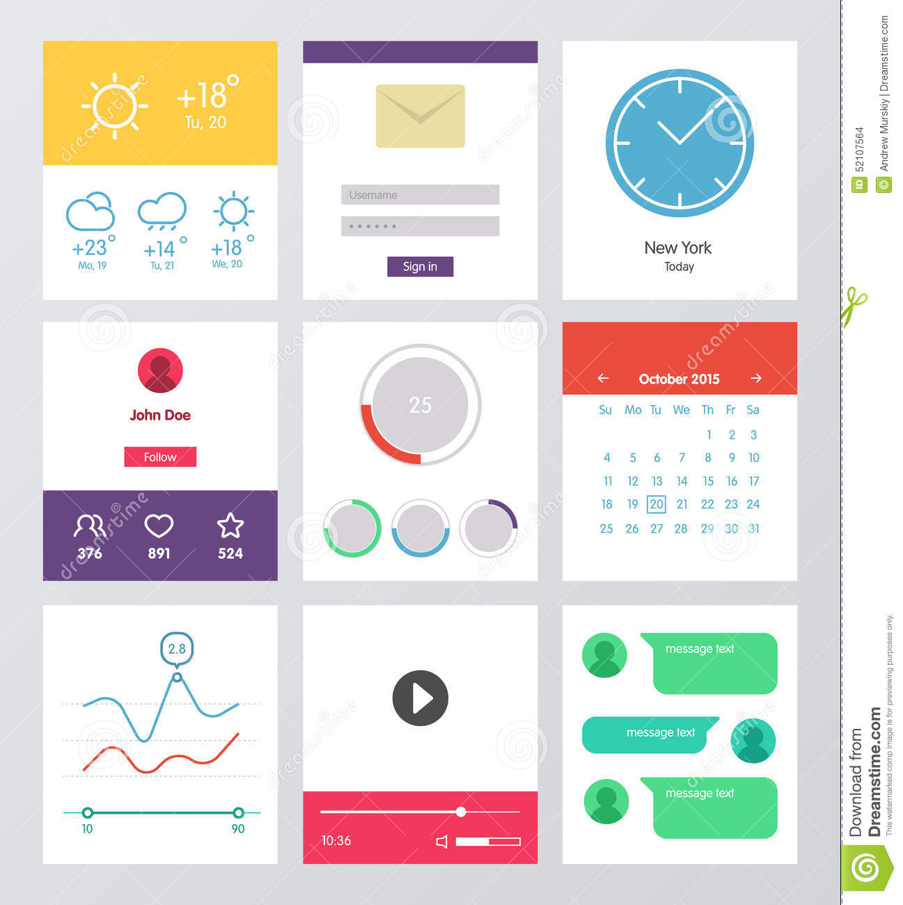 Set Of Flat Design Ui And Ux Elements Stock Vector Image