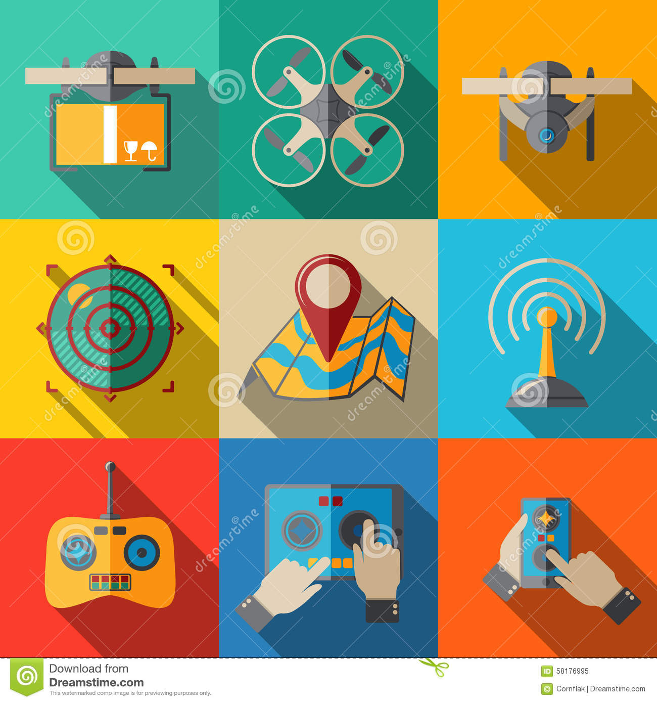 Set Of Flat Drone Icons - With Box, Top View Stock Vector - Image ...