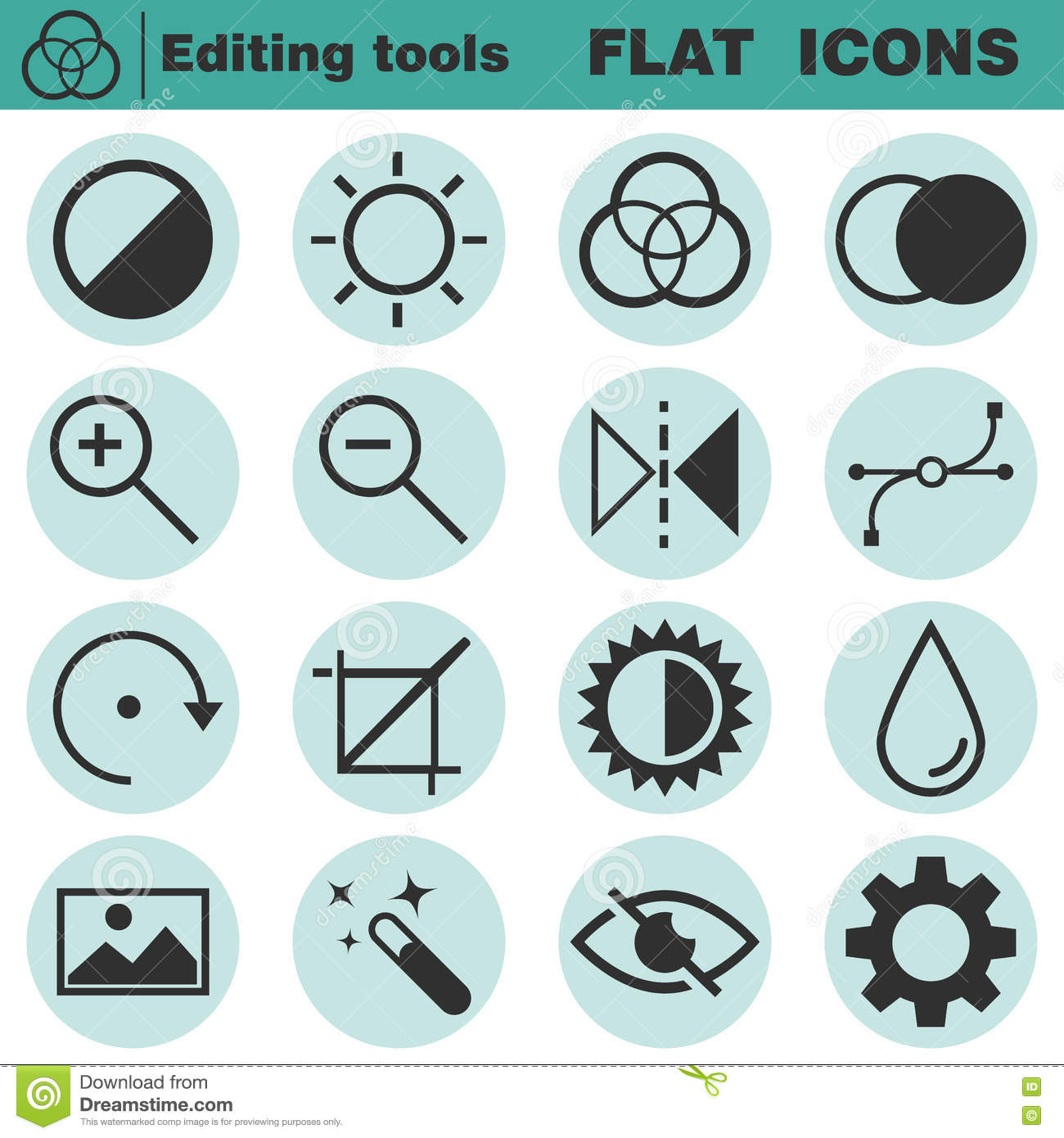 Set Of Flat Editing Icons Contrast Brightness Hue Color Filter