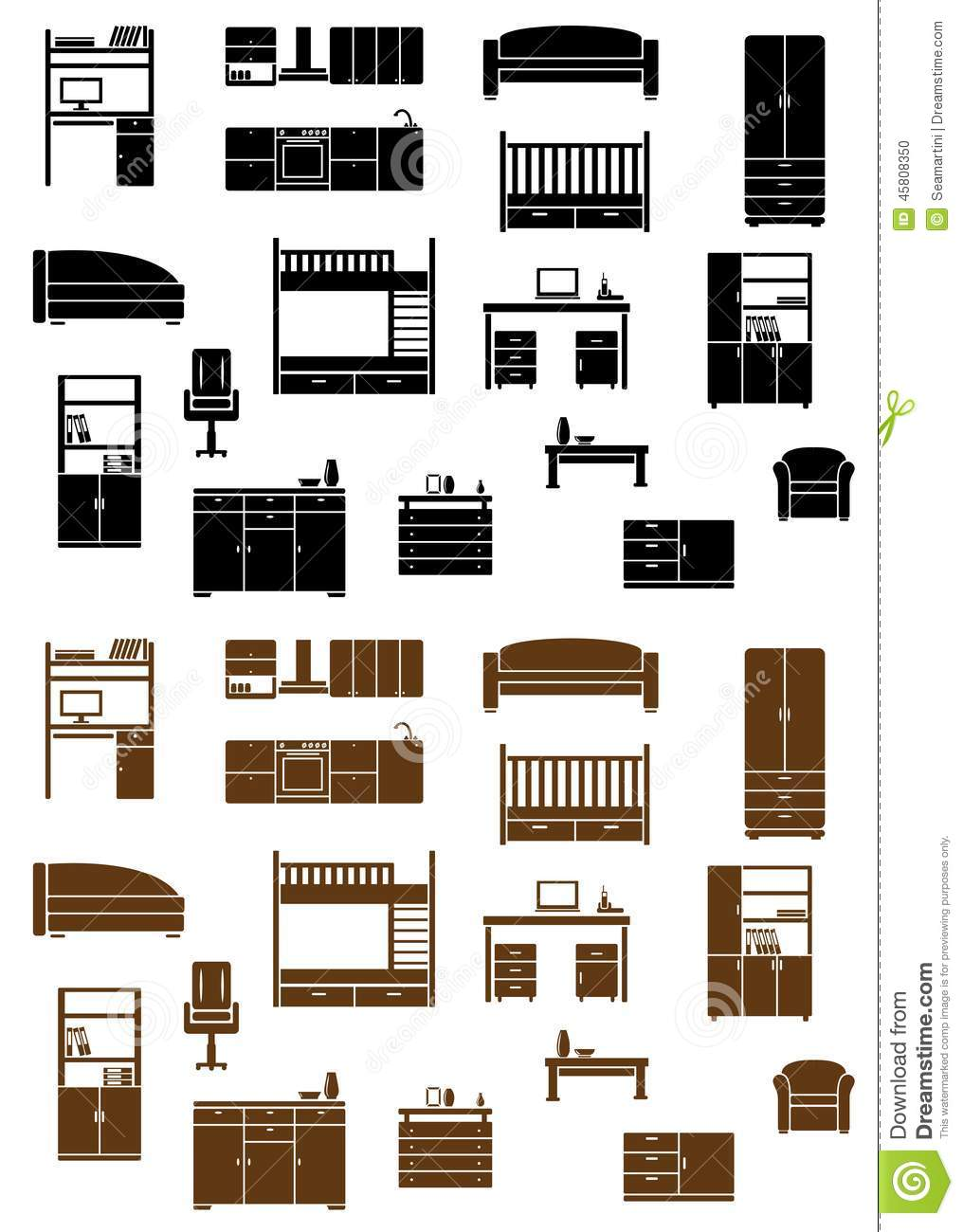 Set of flat furniture icons stock vector image 45808350 for Flat furniture