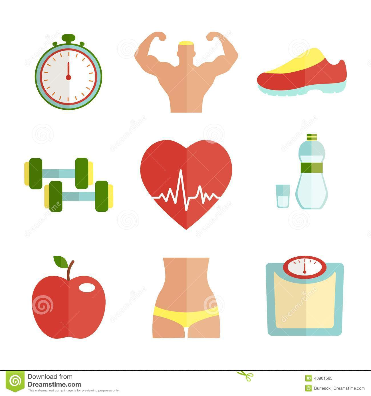 Set Of Flat Health And Sport Icons Stock Vector - Image