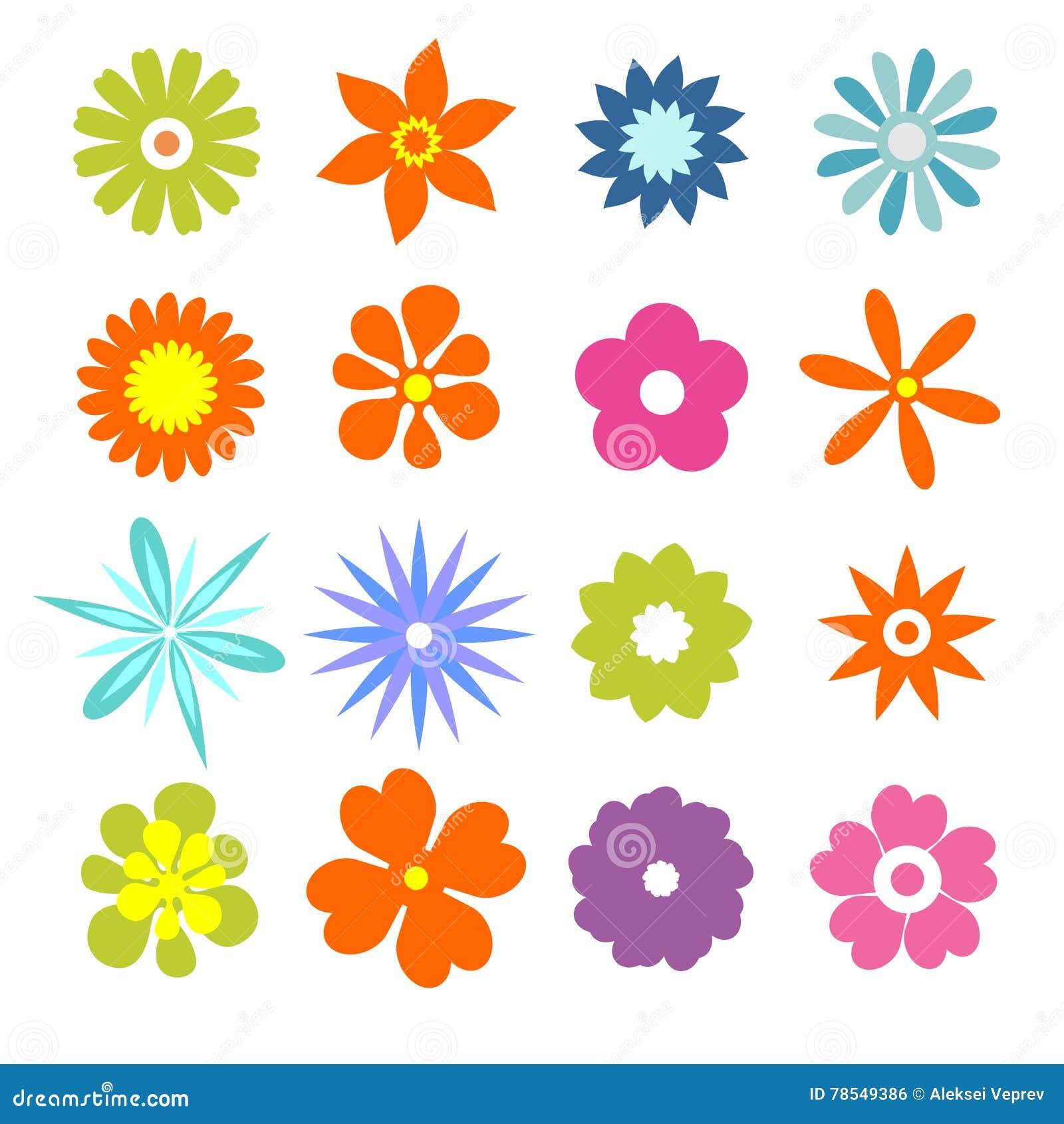 Vector Set Of Flat Flower Silhouette Pattern. Cartoon ...