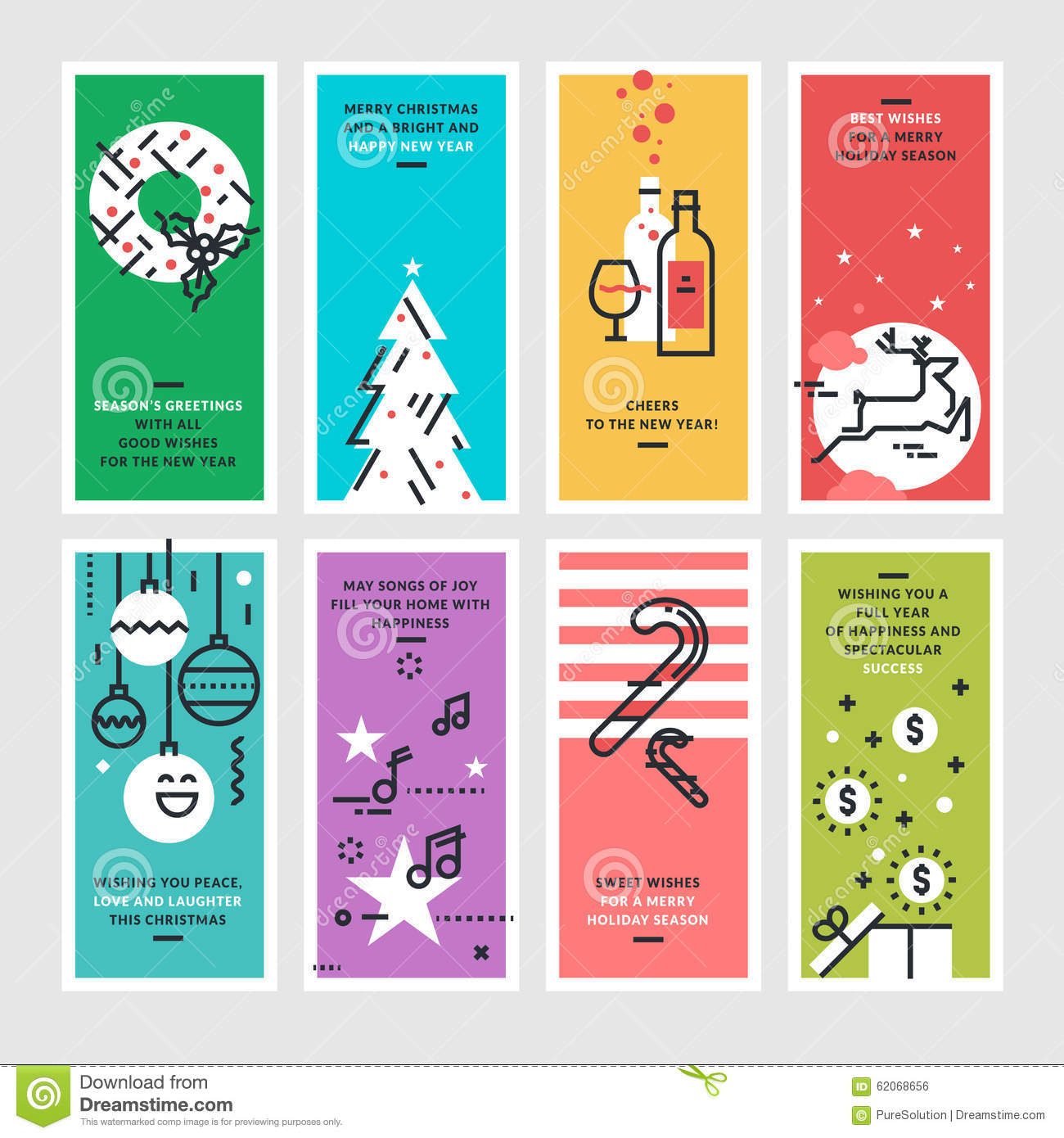 Set of flat line design christmas and new years greeting cards set of flat line design christmas and new year s greeting cards m4hsunfo