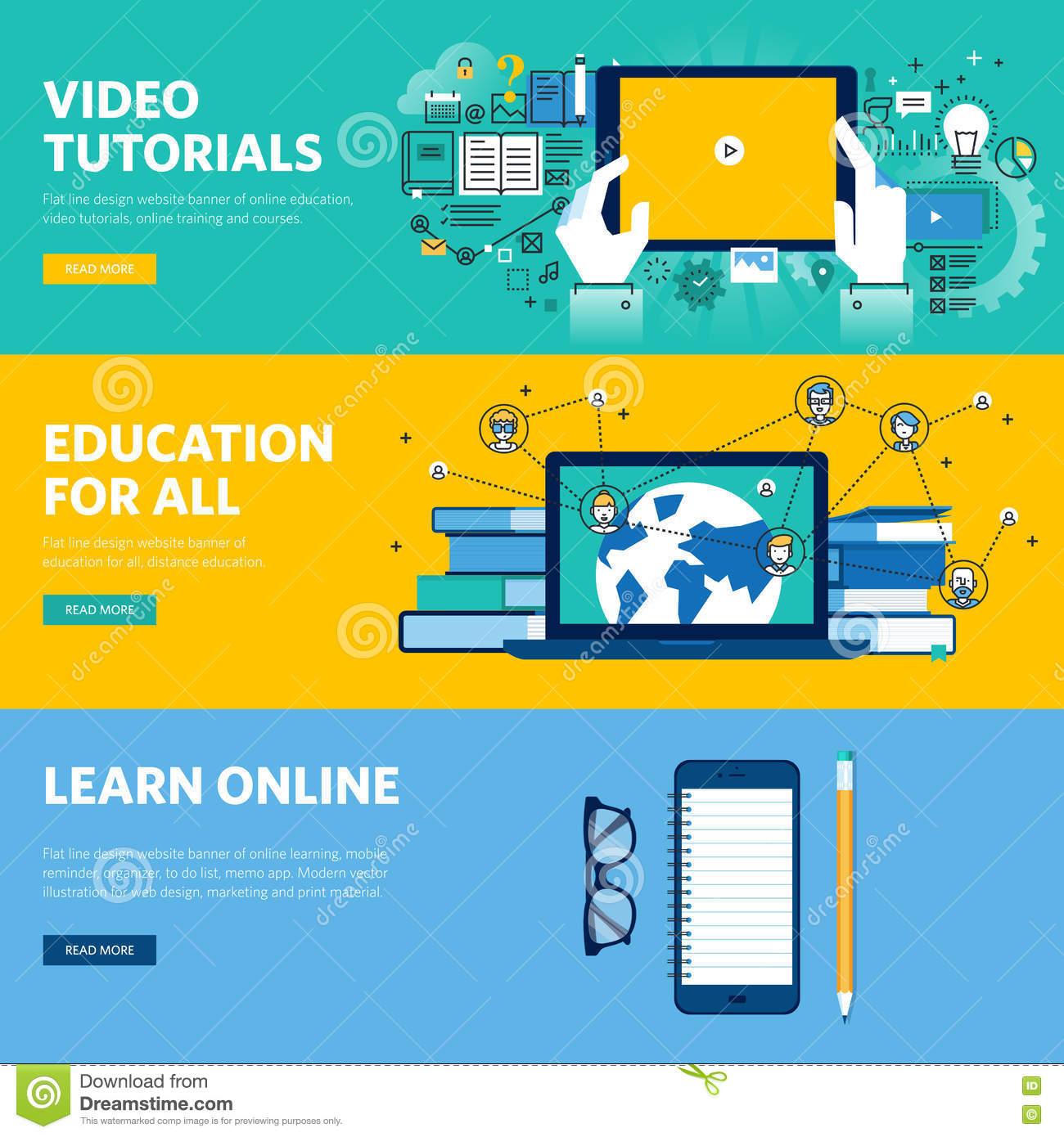 Set of flat line design web banners for distance education - How to learn web designing at home free ...
