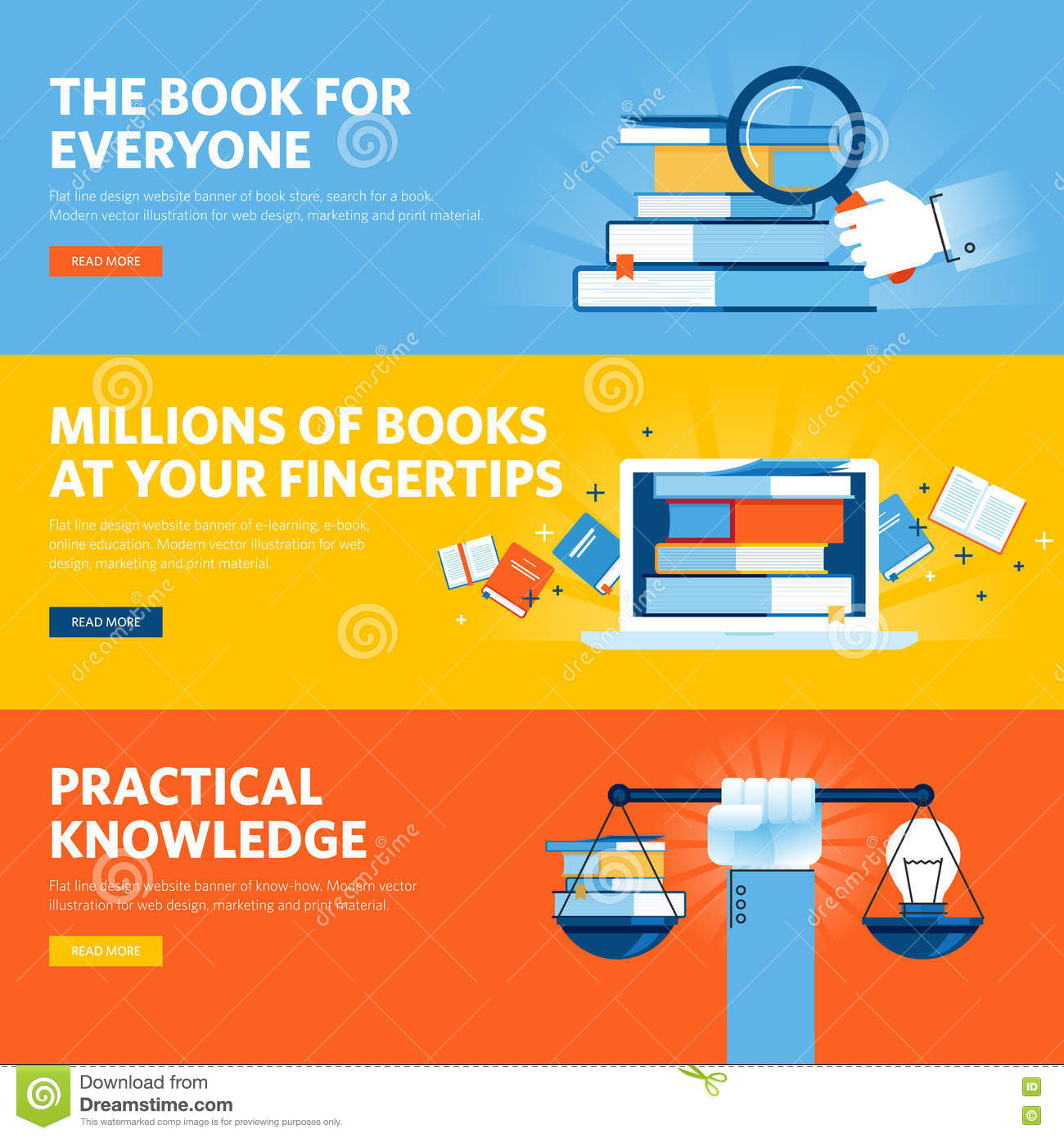 set of flat line design web banners for online book store ebook