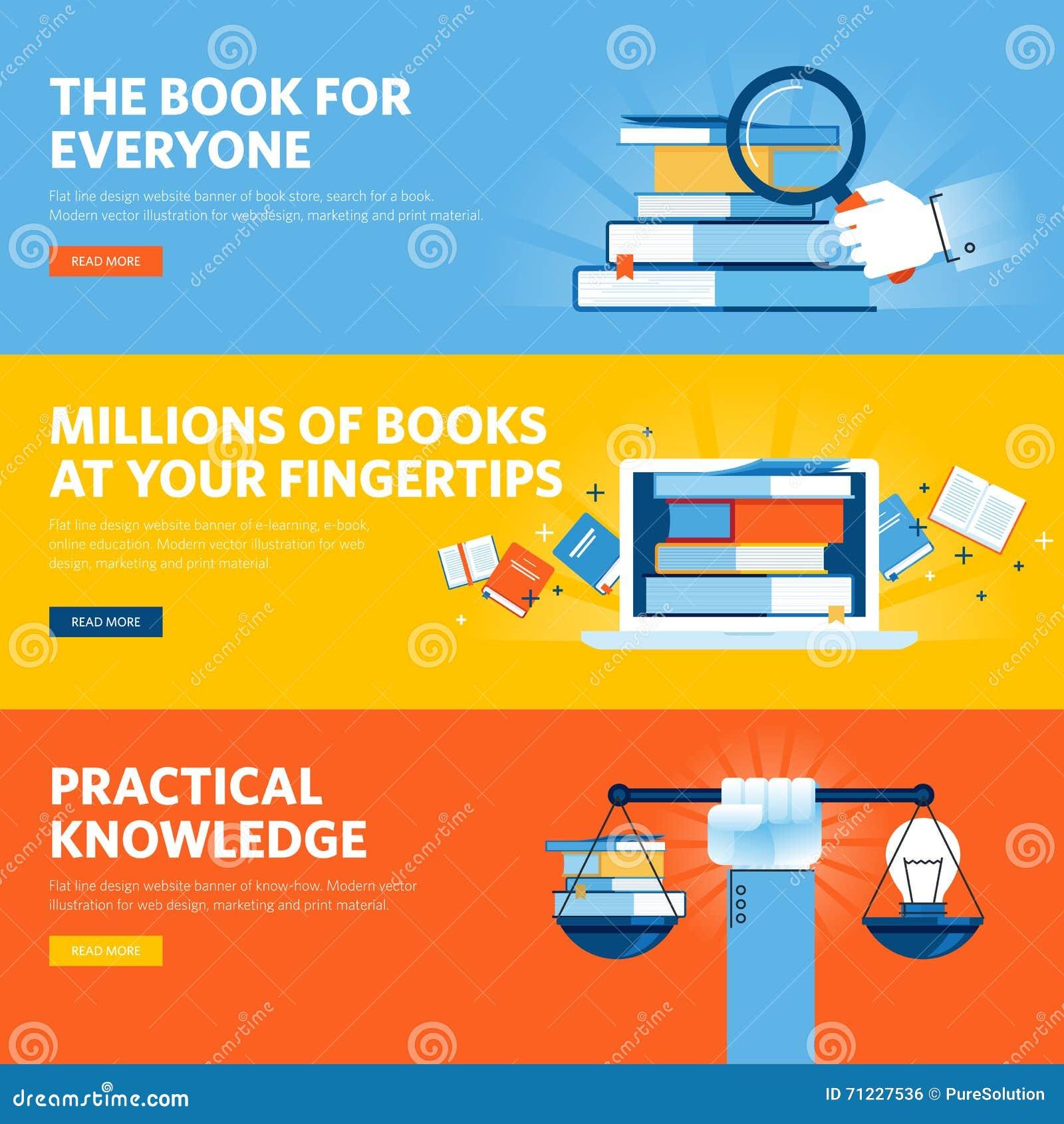 Set of flat line design web banners for online education for Make a blueprint free online