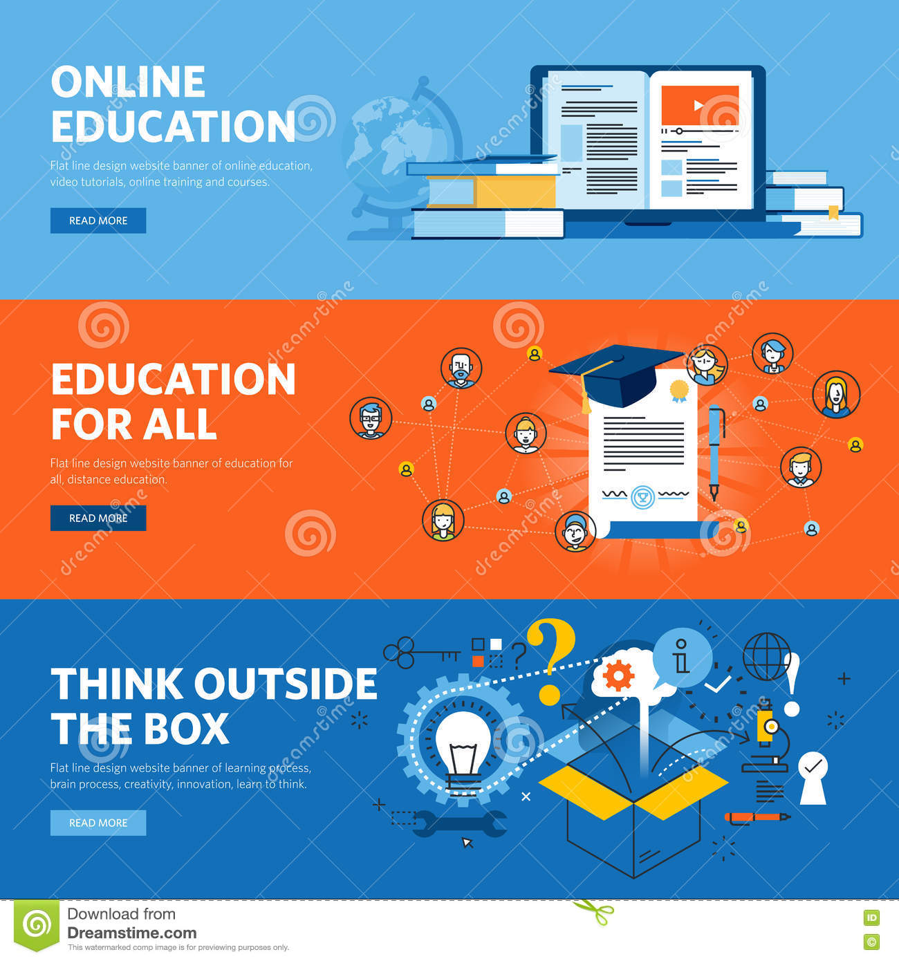 Set of flat line design web banners for online education for Blueprint online