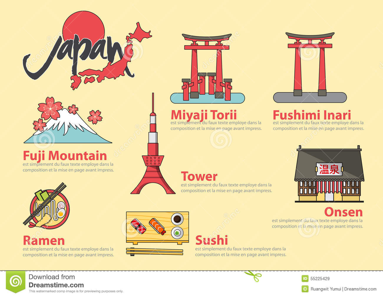 Set of flat line icon and infographic element for Japan travel.