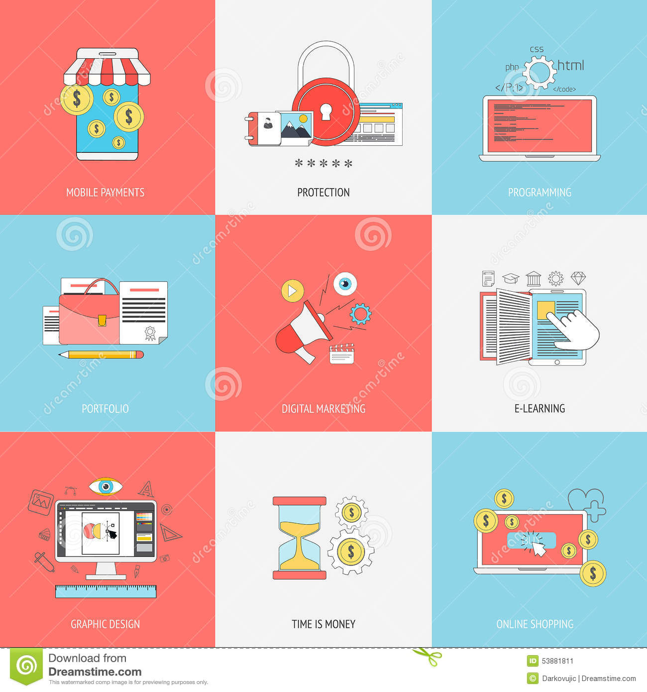 Set Of Flat Line Icons Concepts Stock Vector