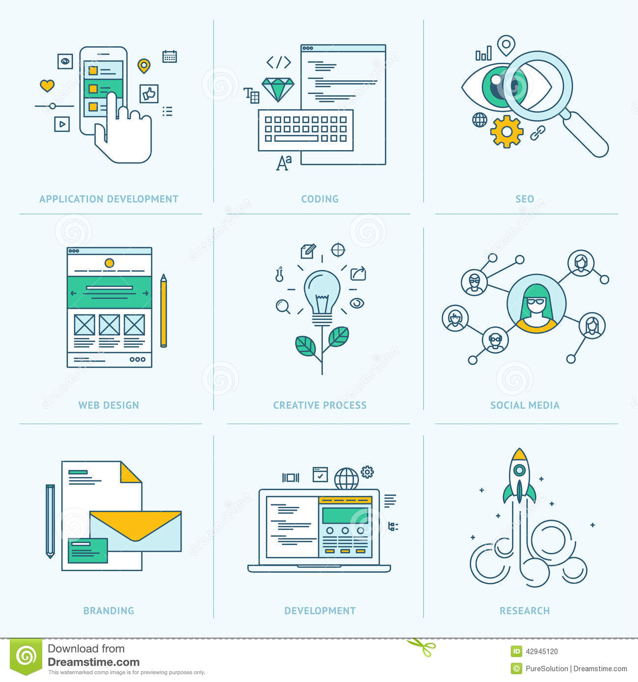 Set Of Flat Line Icons For Web Development Stock Vector