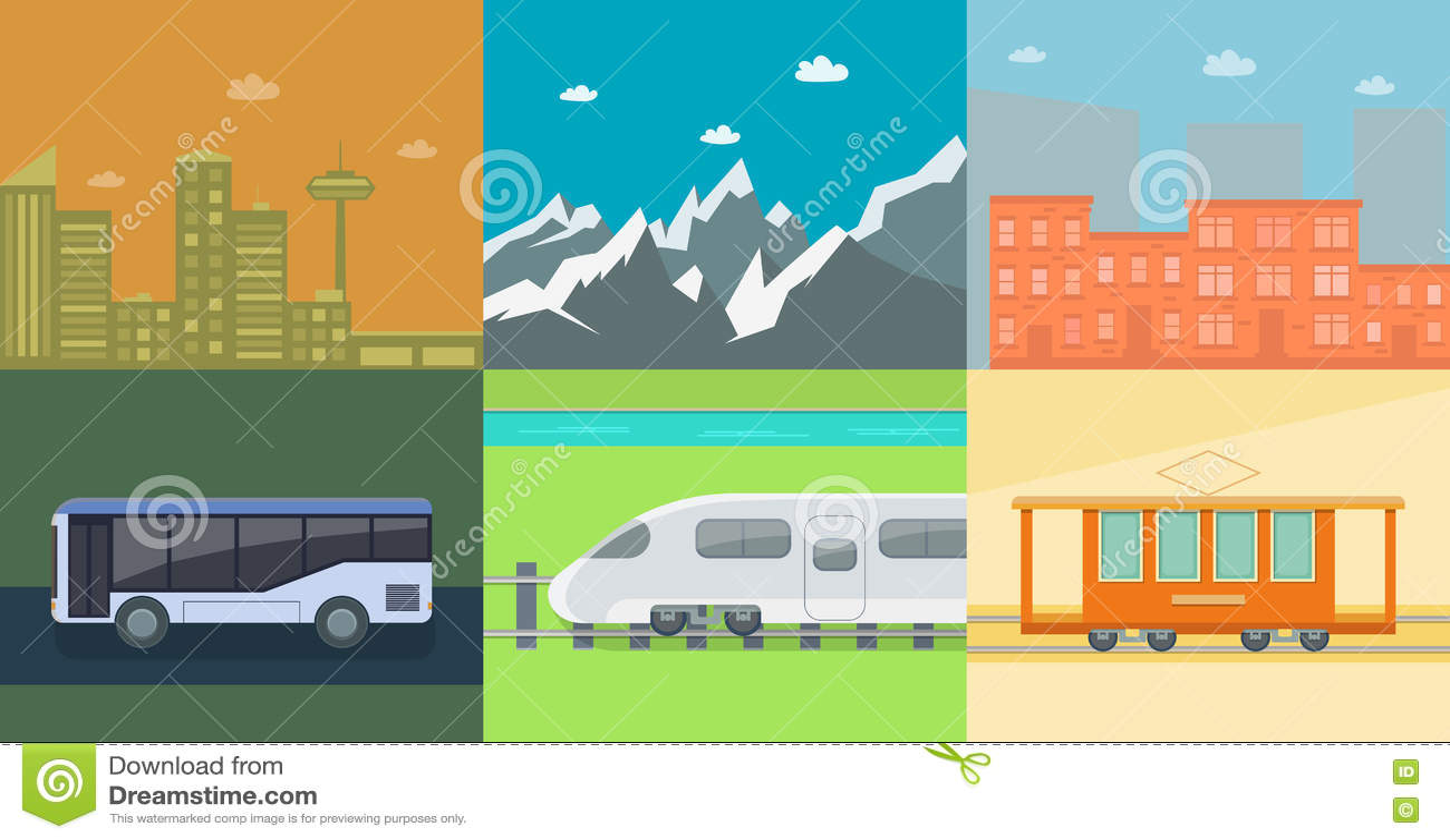 Set of flat public transport