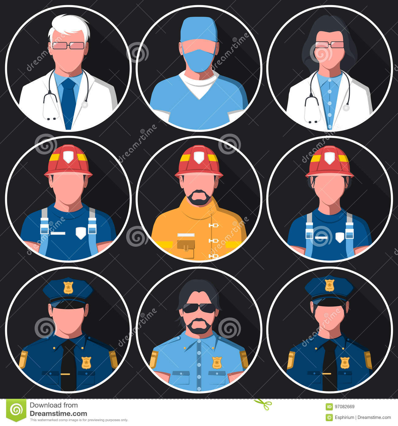 Set of flat round avatars of medical, fire and police services