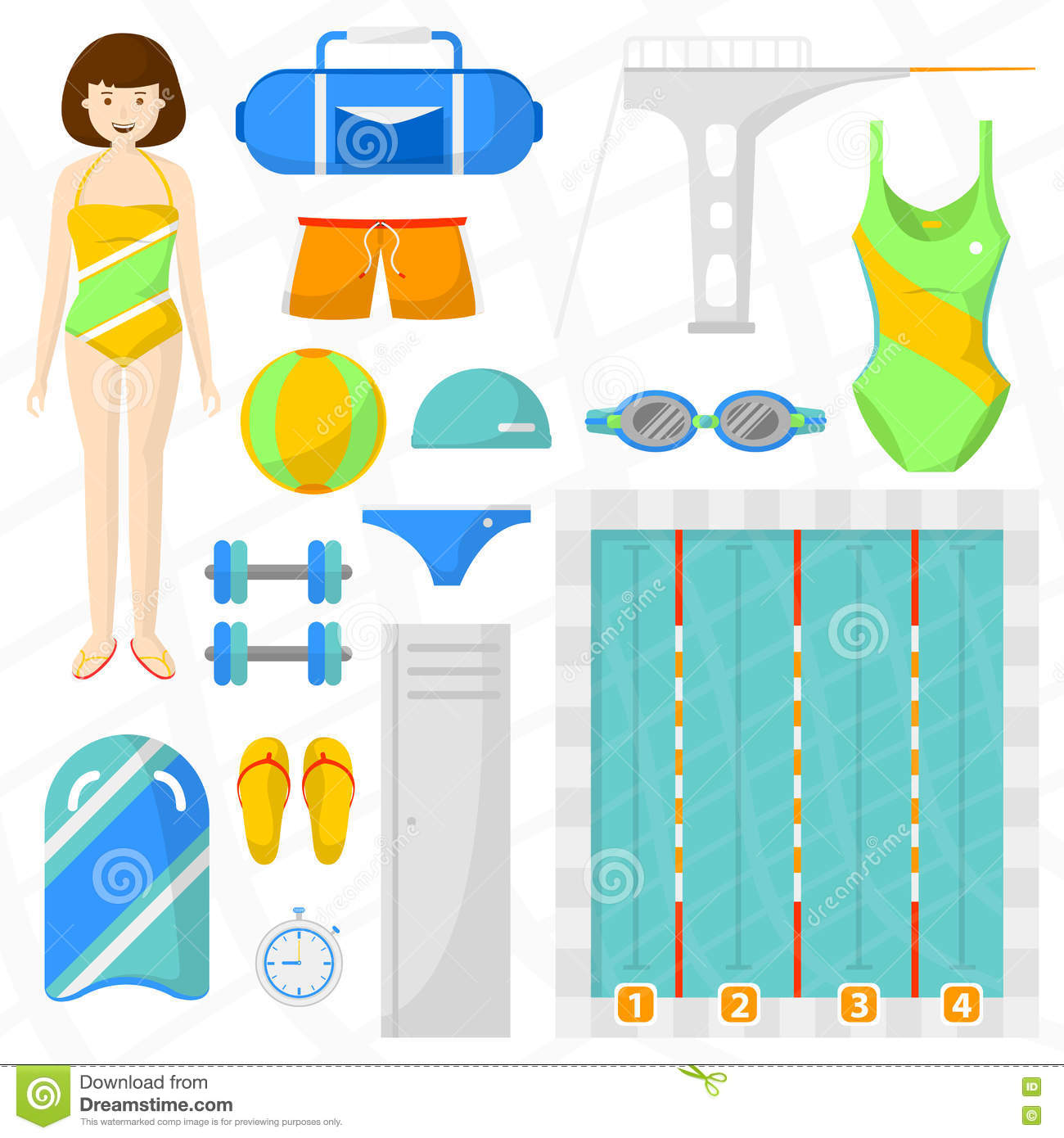 Set Of Flat Swimming Icons Stock Vector Illustration Of Fitness Female 80214584