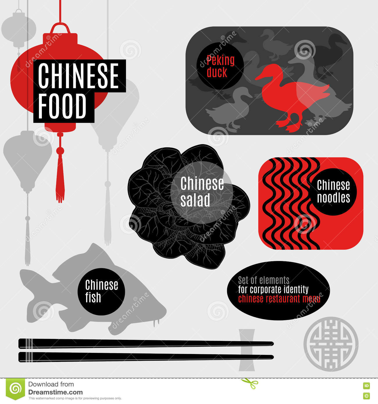 Set Of Flat Vector Elements For Chinese Restaurant Stock Vector Illustration Of Fish Bowl 80212420