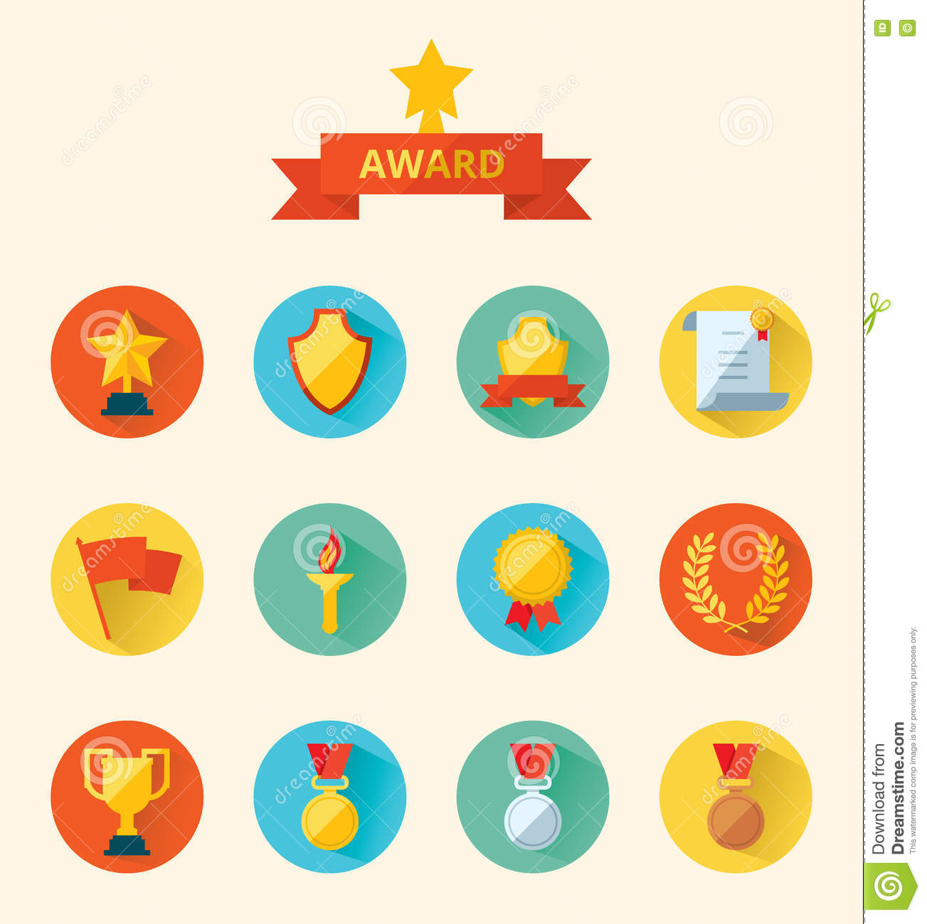 Set of flat vector icons sports awards