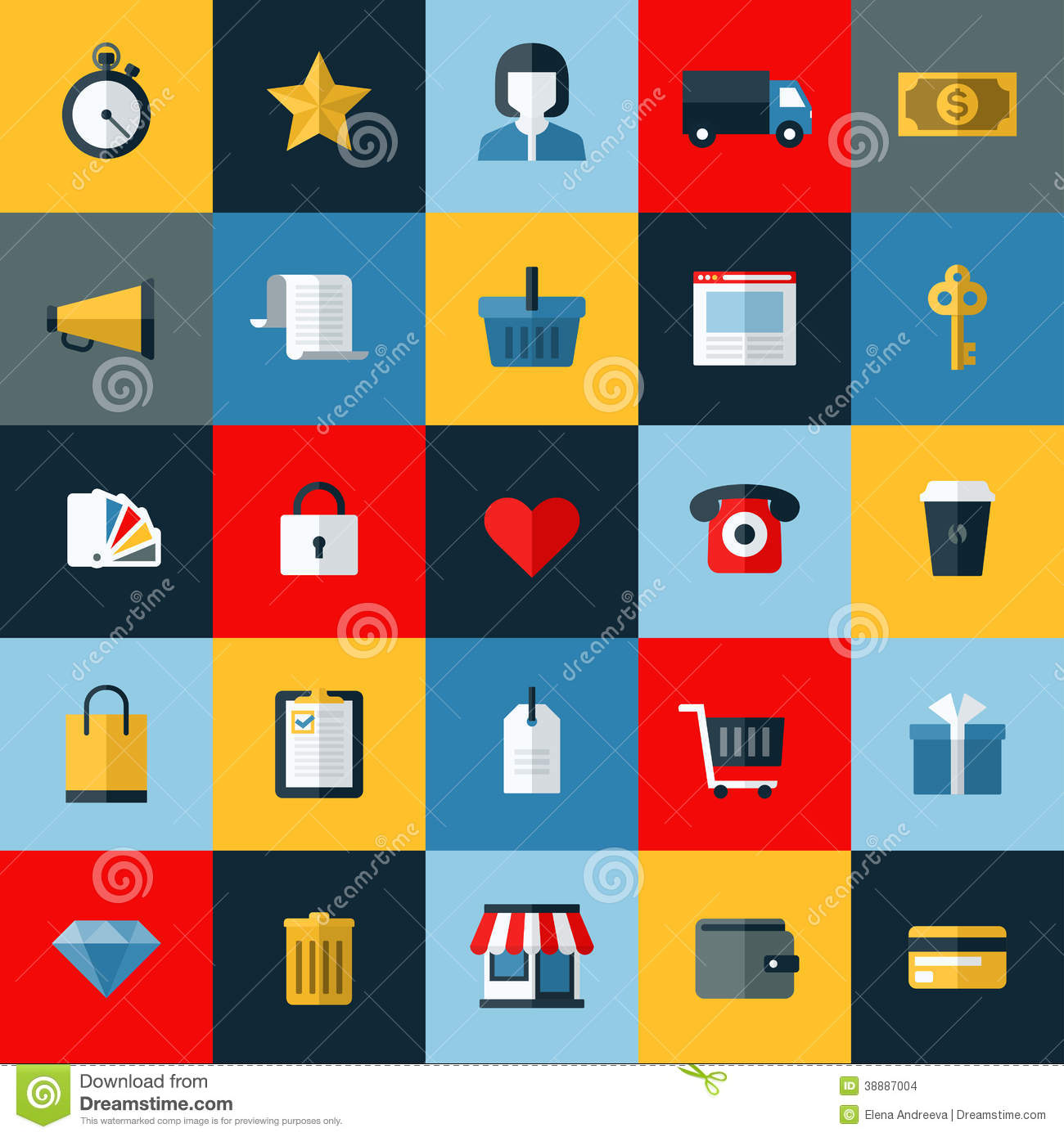 Set of flat vector online shopping icons stock vector for Shopping online mobili