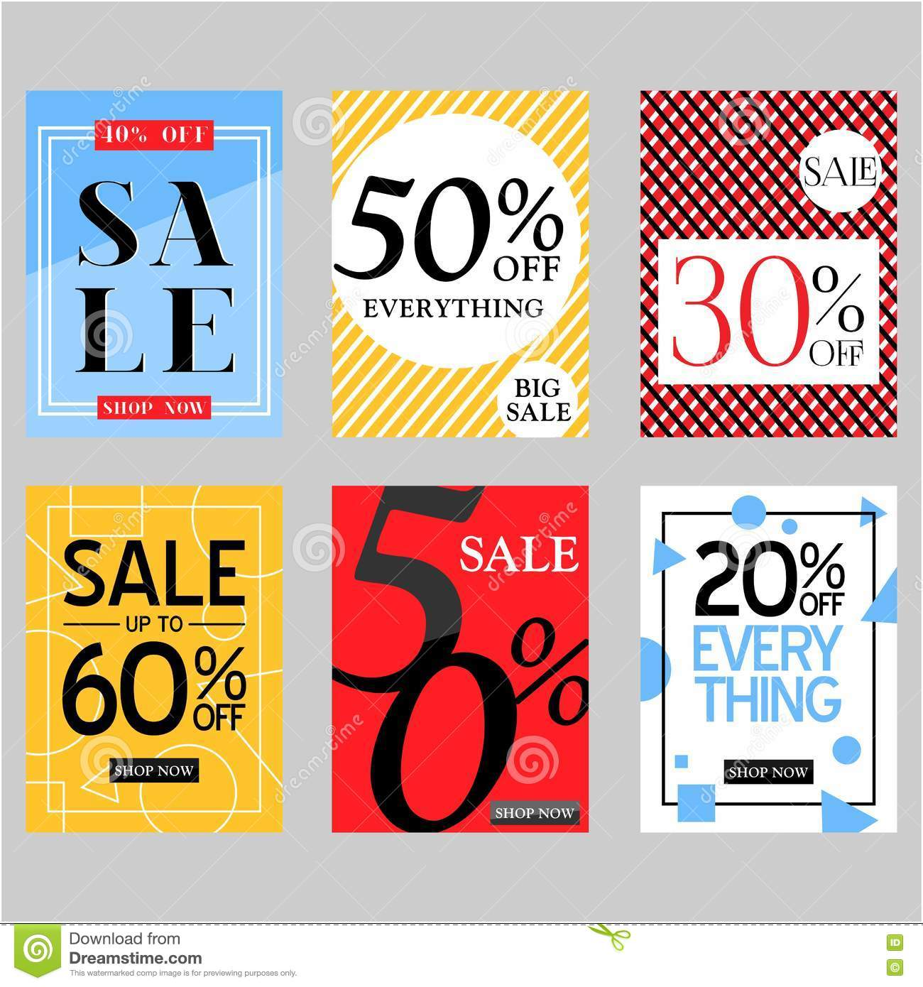 Set Of Flat Vector Sale Posters And Special Discount Cards ...