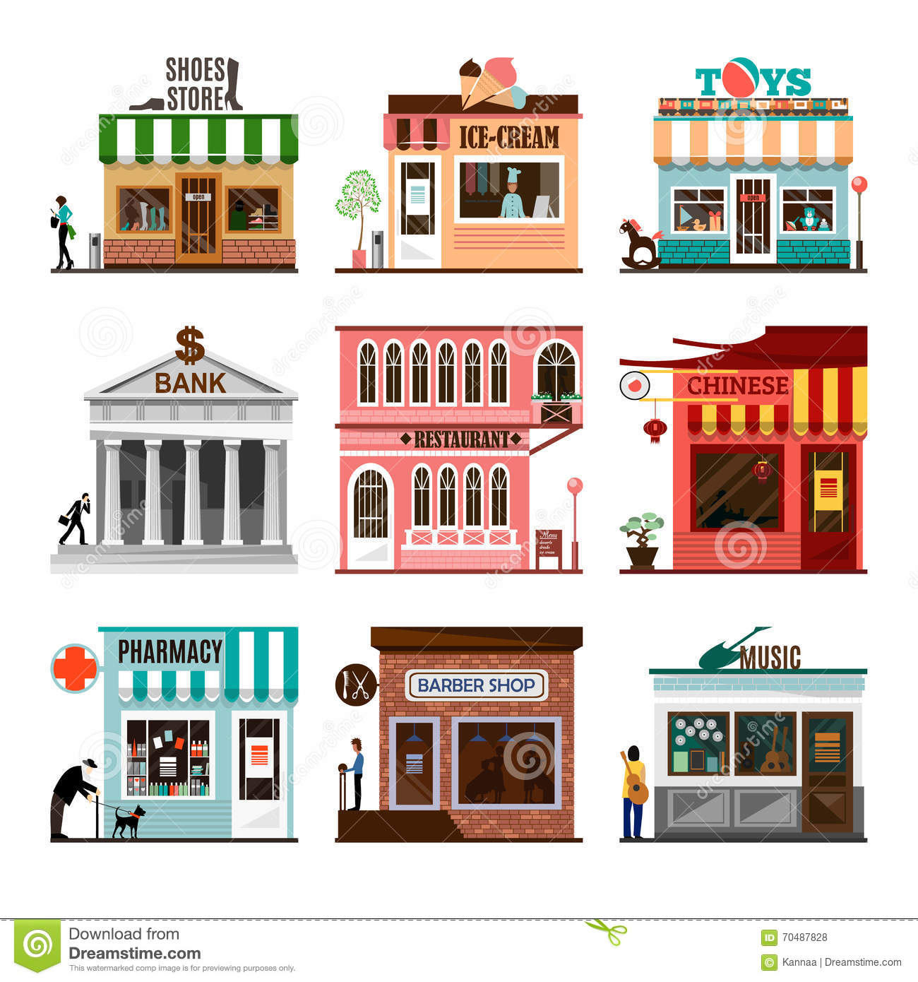 Set of flat vector shop building facades icons stock vector image 70487828 - Facade local commercial ...