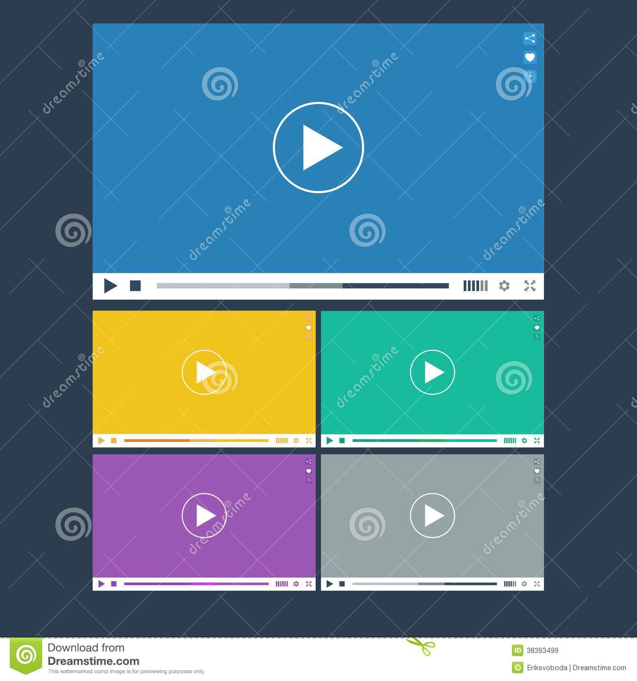 Set Of Flat Video Player For Web And Mobile Apps Stock