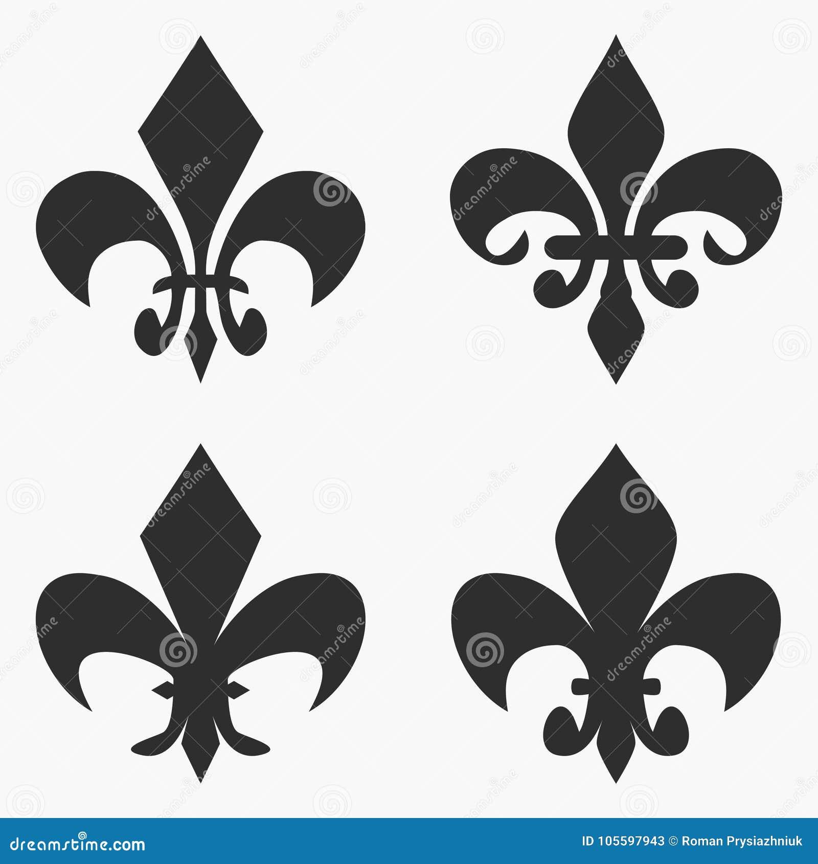 Set Of Fleur De Lis Symbol French Heraldic Lily Vector Stock
