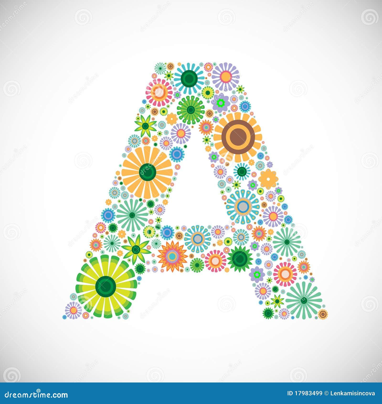 A Alphabet Letter Set Of Floral A...