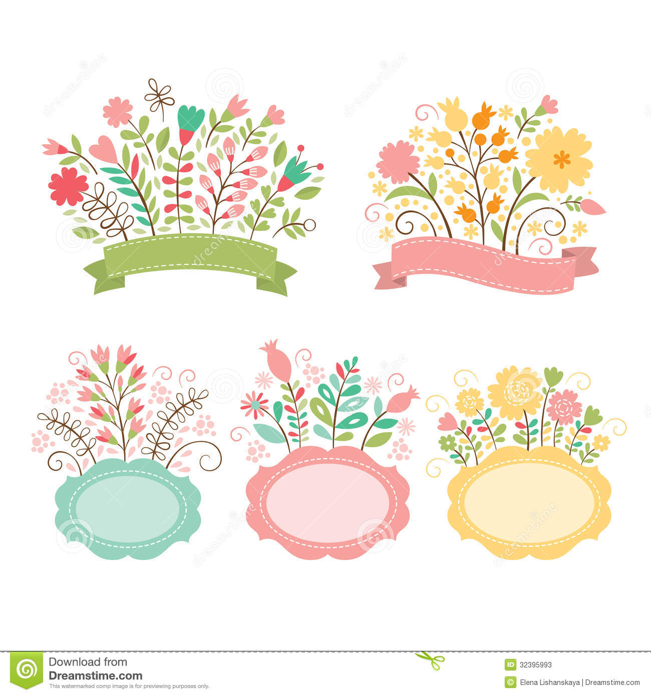 Set of floral bouquets and frames