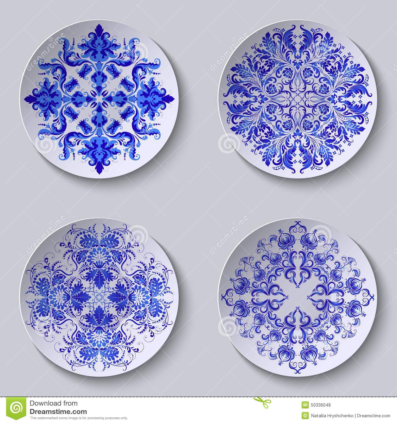 Set of floral circular plates  sc 1 st  Dreamstime.com & Set Of Floral Circular Plates Stock Vector - Illustration of blue ...