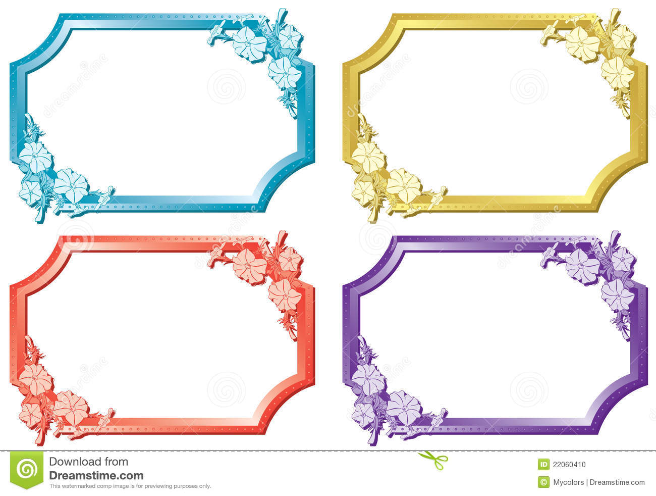 Set Of Floral Color Frames - Vector Stock Photo - Image ...