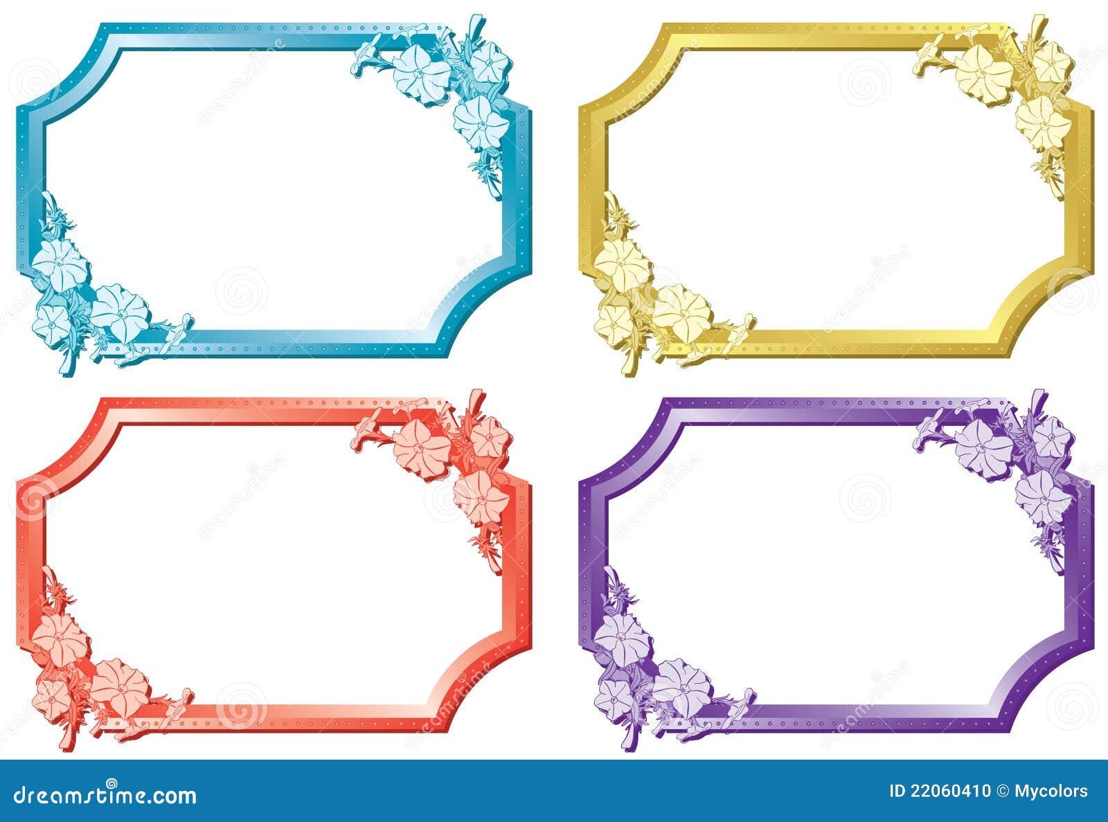 Set Of Floral Color Frames - Vector Stock Photo - Image ...