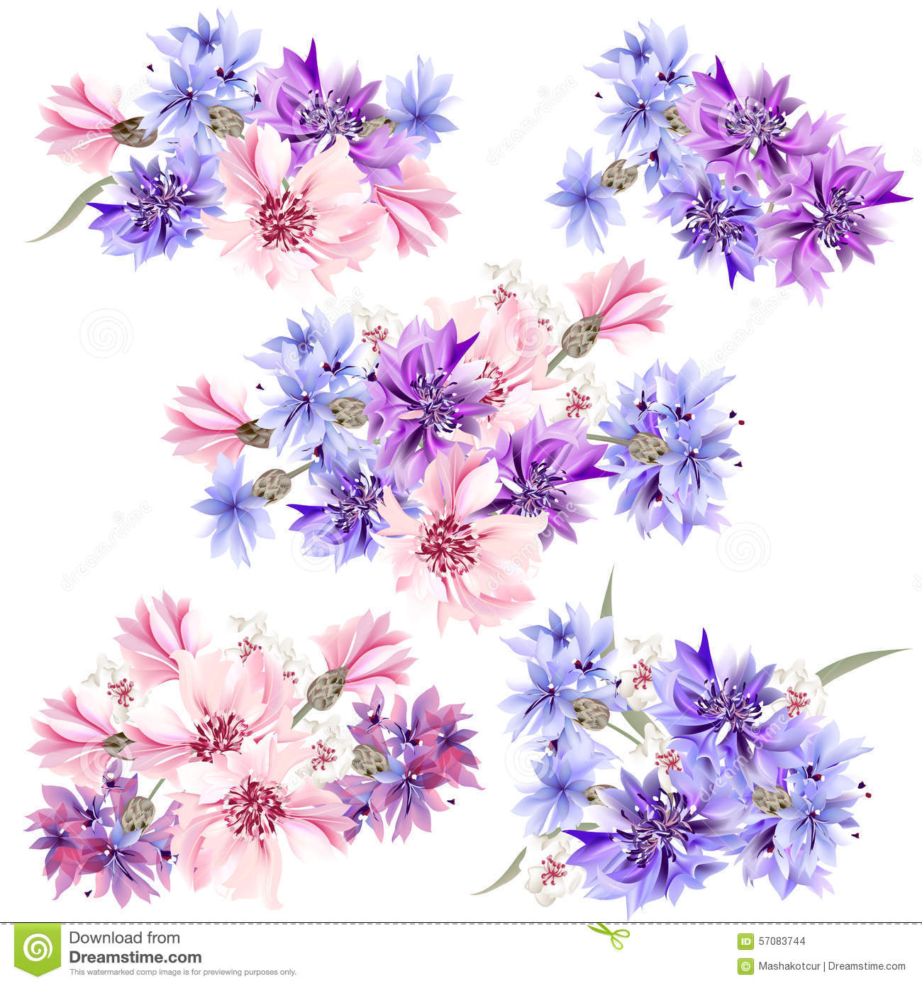 Set of floral designs in watercolor style with flowers stock vector download set of floral designs in watercolor style with flowers stock vector illustration of invitation izmirmasajfo