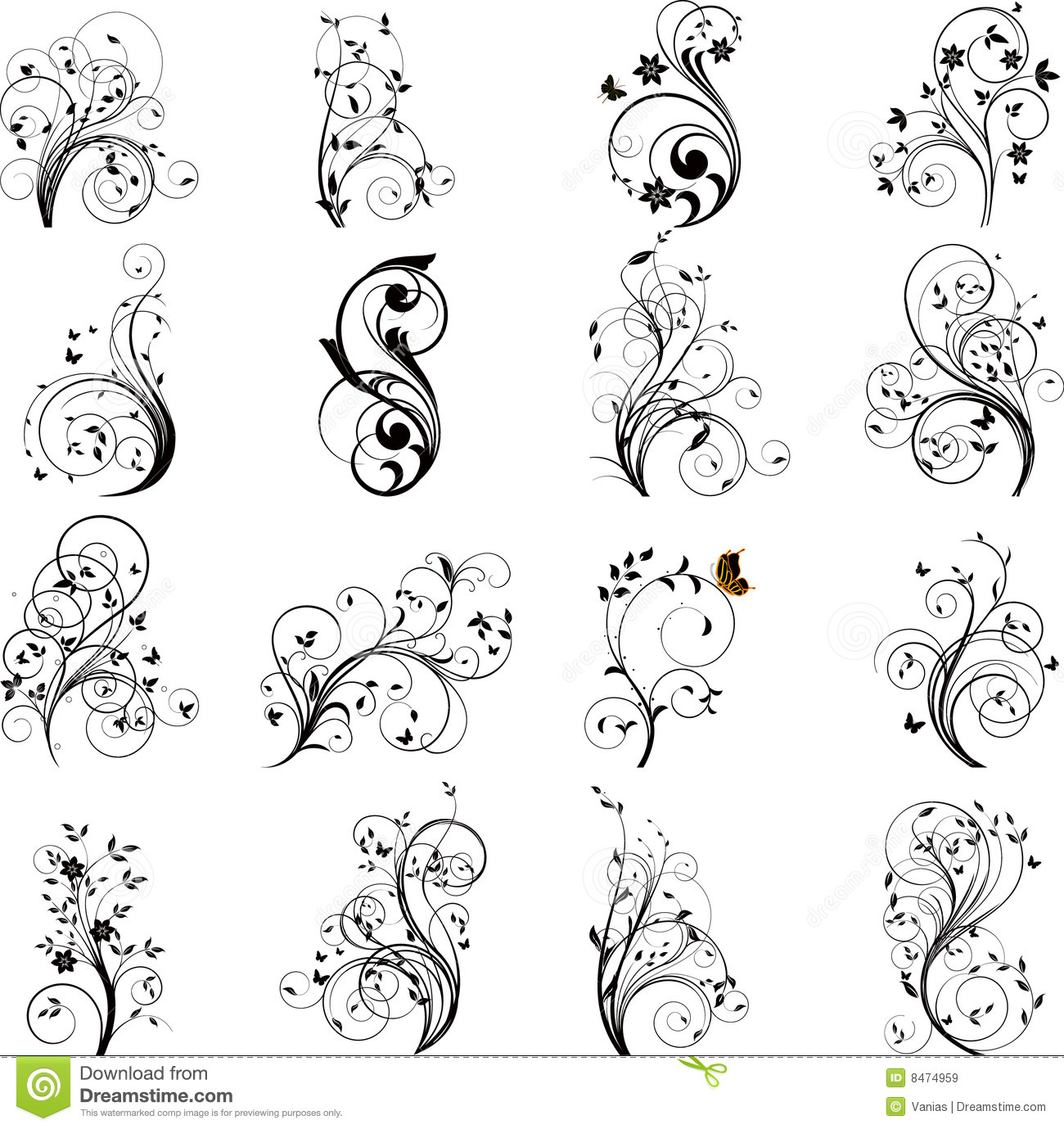 Set Of Black Flower Design Elements Royalty Free Stock: Set Of Floral Elements Vector Stock Vector