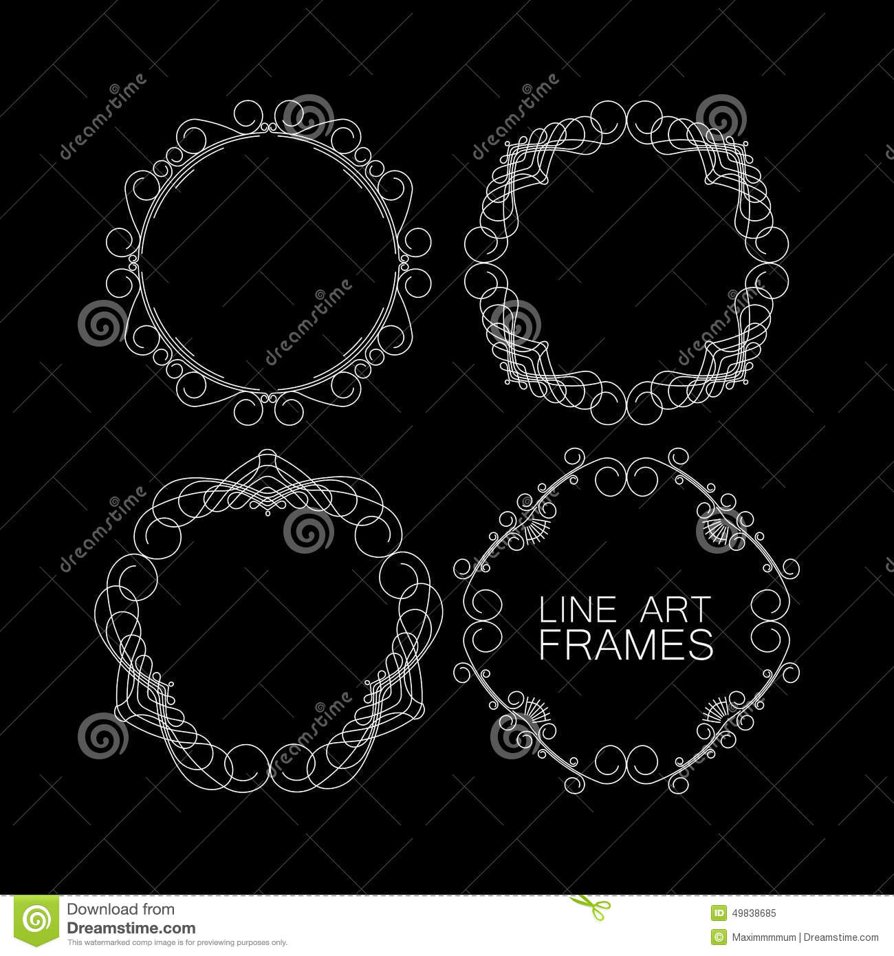 Frame Design Line Art : Set of floral line design elements vector illustration