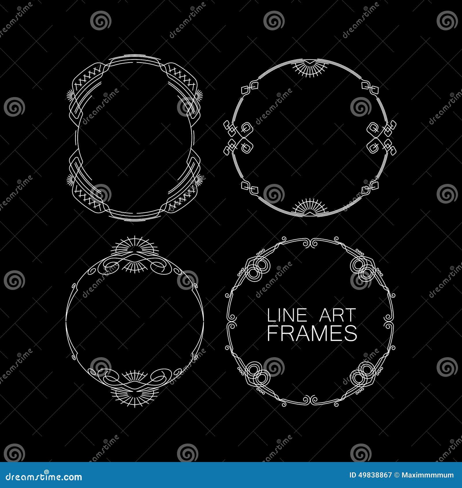 Frame Design Line Art : Set of floral line design elements vector illustration