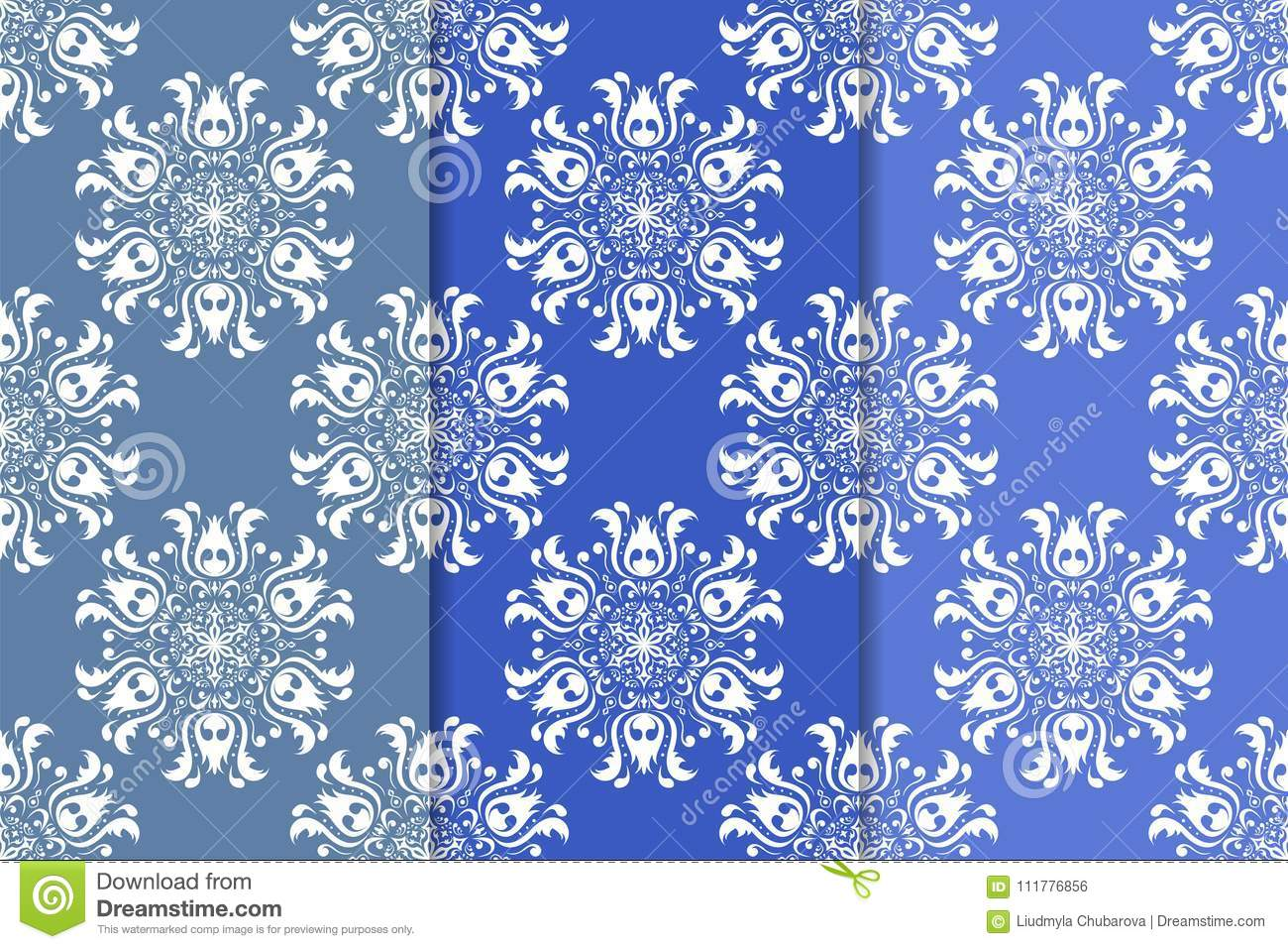Set of floral ornaments. Vertical blue seamless patterns