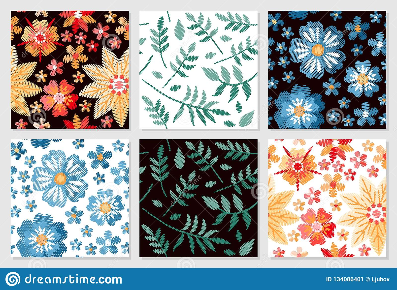 Set of floral seamless patterns. Embroidery of flowers and leaves on white and black background.
