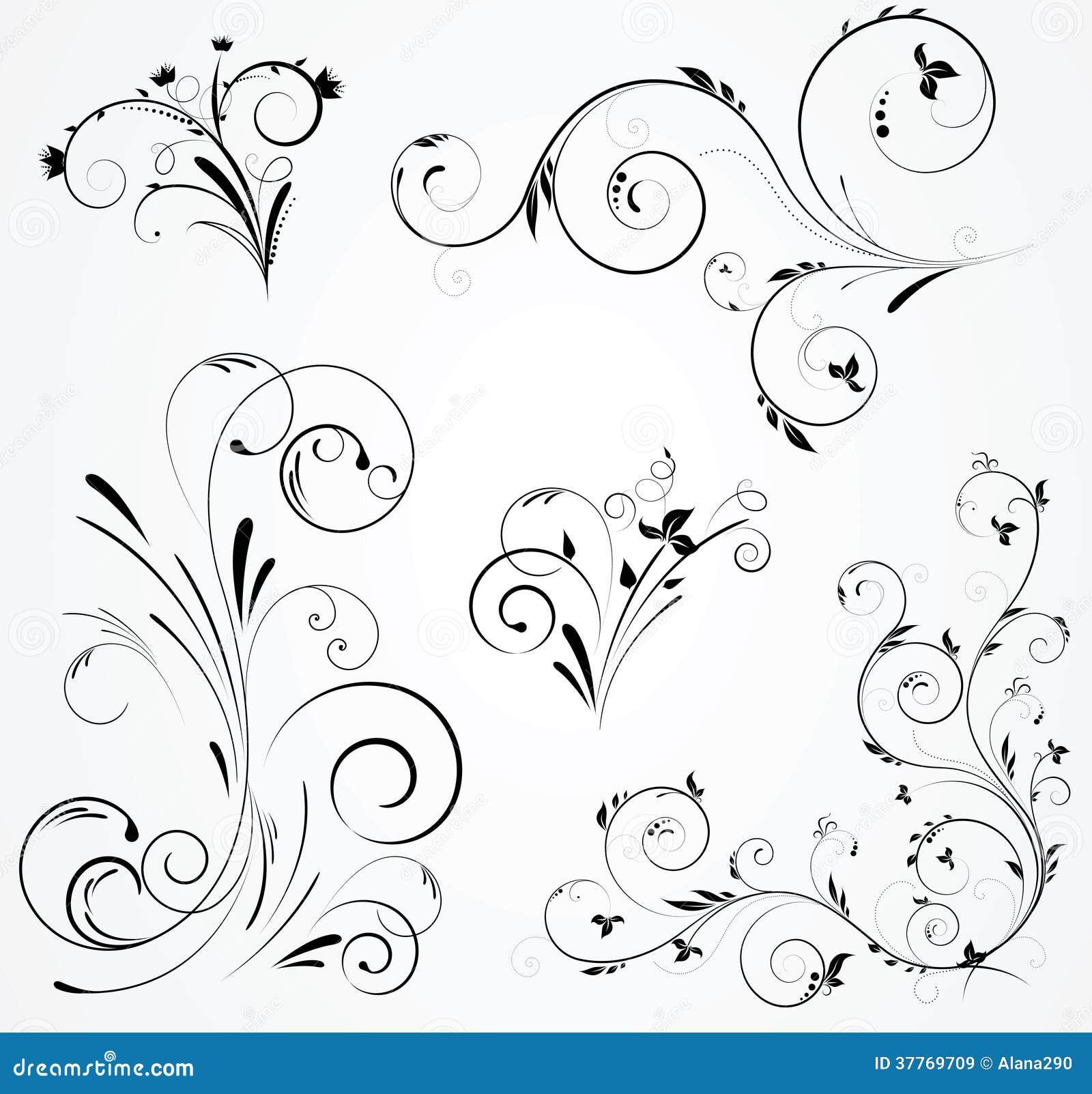 set of floral swirl designs stock vector image 37769709. Black Bedroom Furniture Sets. Home Design Ideas