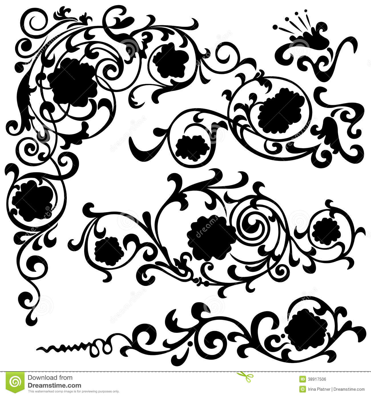 Black Flower Silhouette Pattern Royalty Free Stock Images: Set Floral Swirling Pattern, Silhouette Black Stock Vector