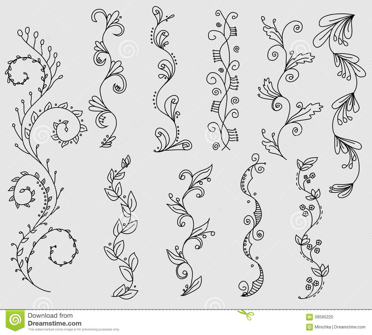 Draping Plants Set Of Floral Vine Borders Stock Vector Illustration Of
