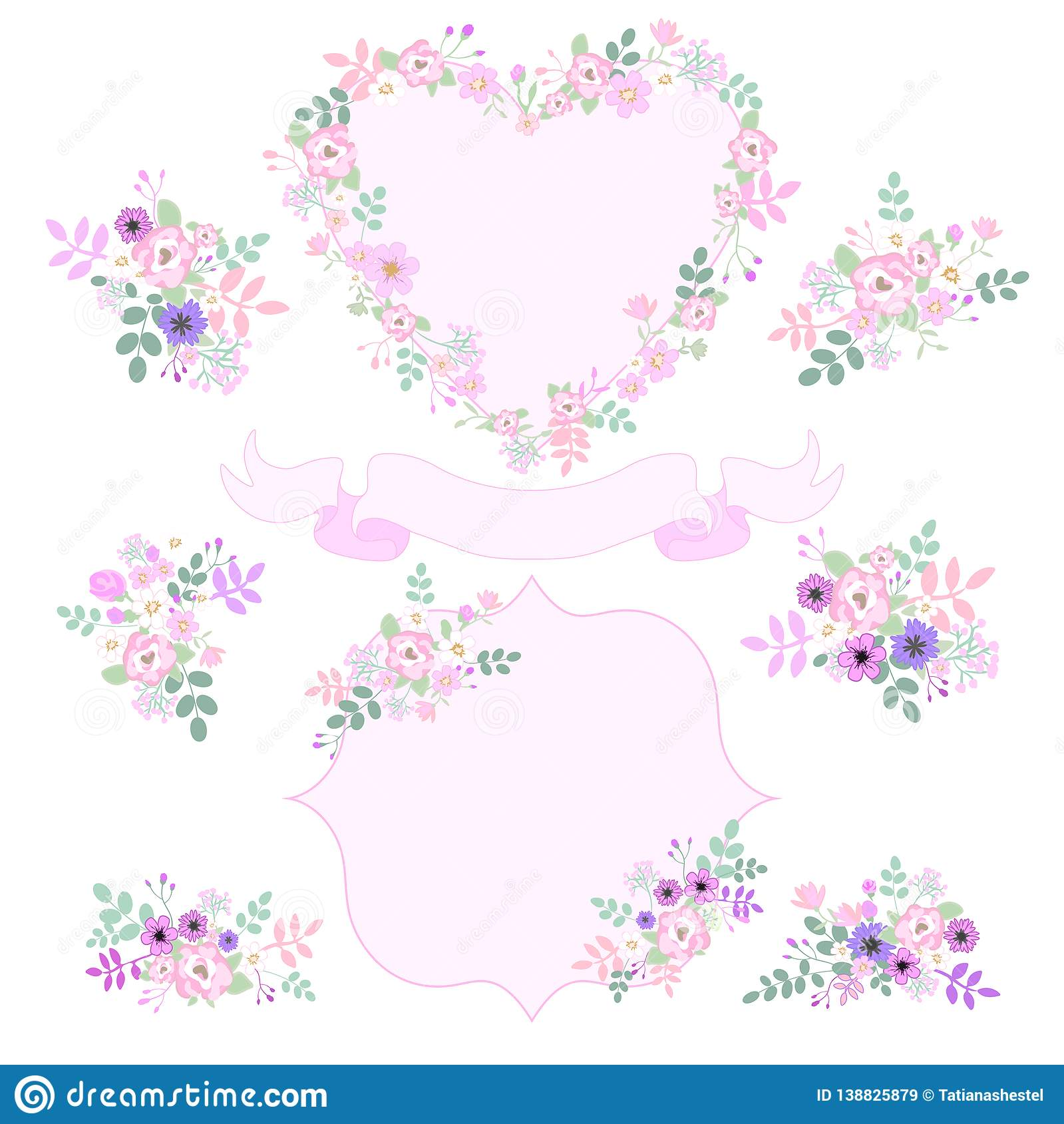 set of vintage pink and purple flowers isolated on white background template for wedding card invitations heart shape ribbon b stock illustration illustration of birthday frame 138825879 https www dreamstime com set floral vintage pink purple flowers isolated white background template wedding card invitations heart shape image138825879