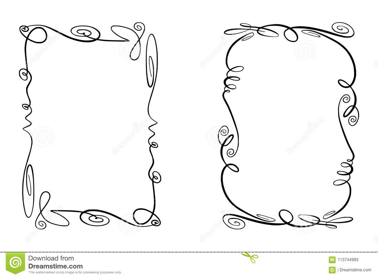Set of Flourish Vector Frames. Collection of Rectangles with squiggles, twirls and embellishments for image and text